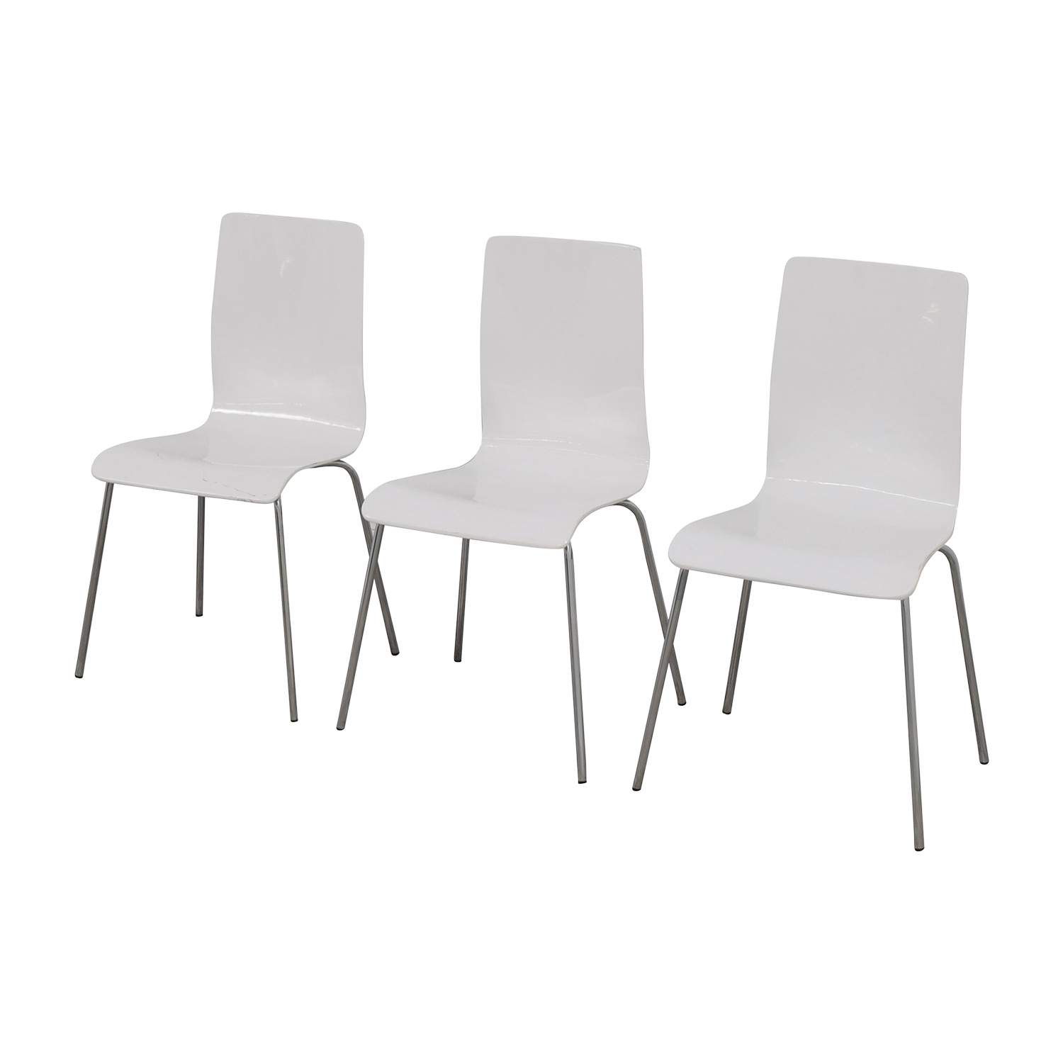 Newspec Newspec Modern Glossy White Dining Chairs for sale