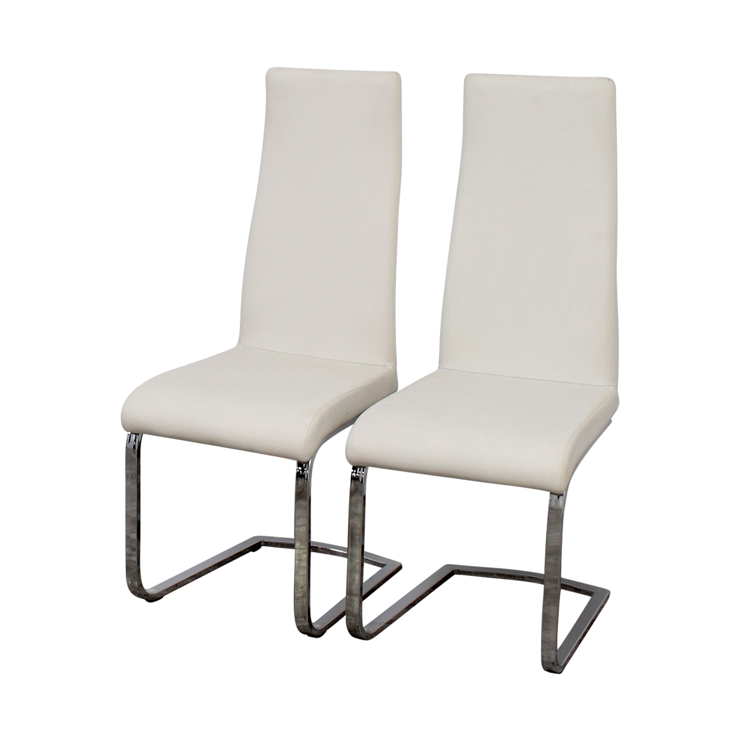 Coaster Furniture Coaster Furniture Breuer Style High Back Dining Chair in White Leatherette