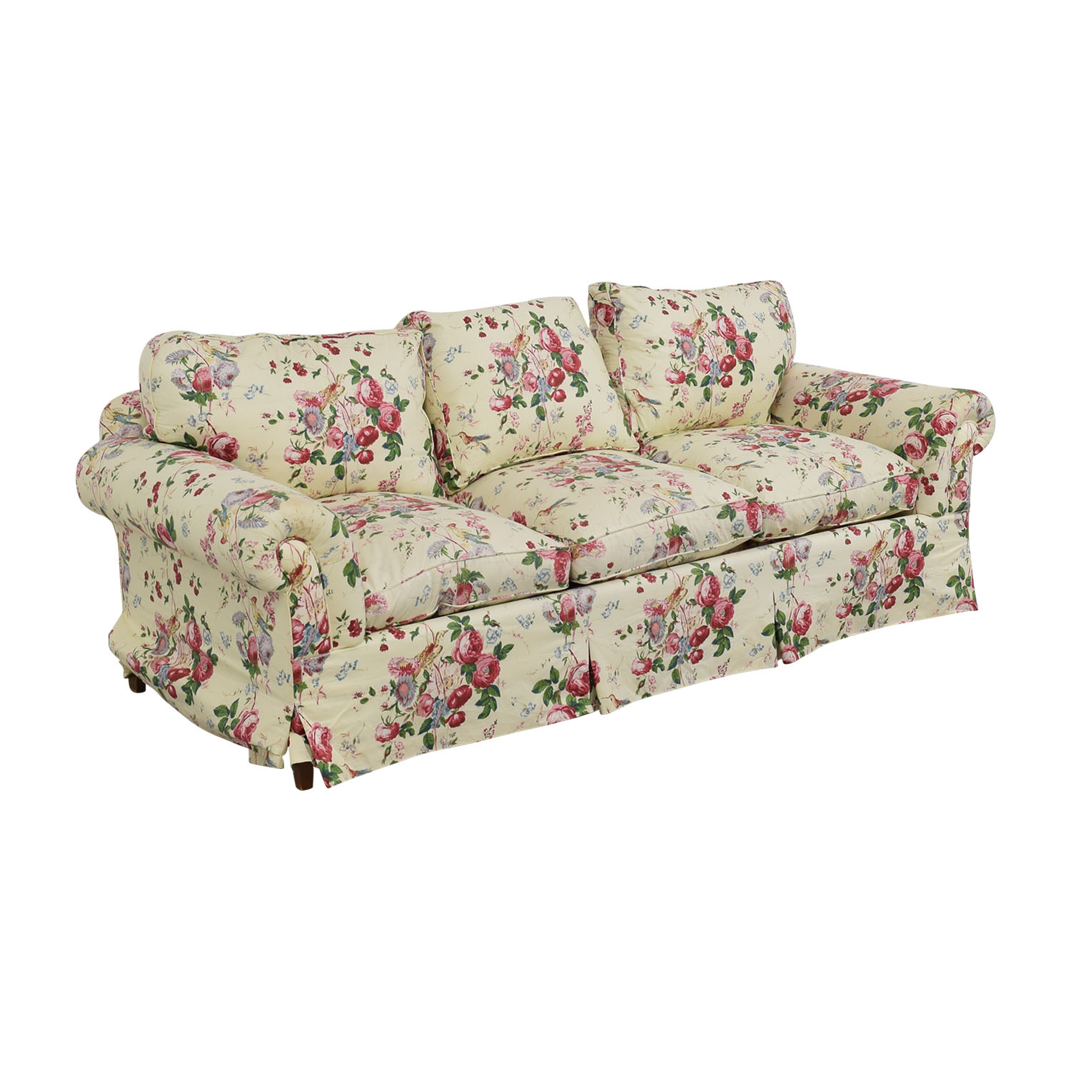 90 off floral on white three cushion sofa with curved for Floral sofa bed