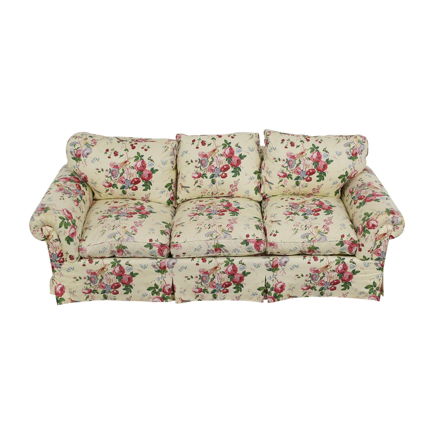 Floral on White Three-Cushion Sofa with Curved Arms / Sofas
