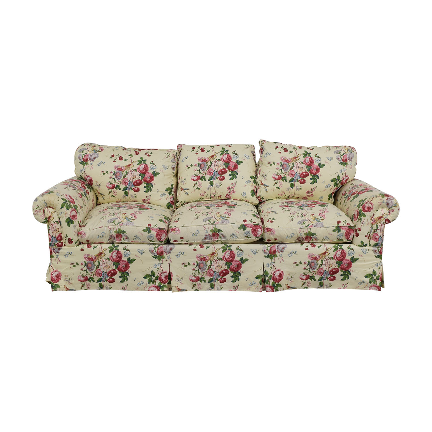 pattern floral ethan cushion allen couch traditional arm roll product chairish