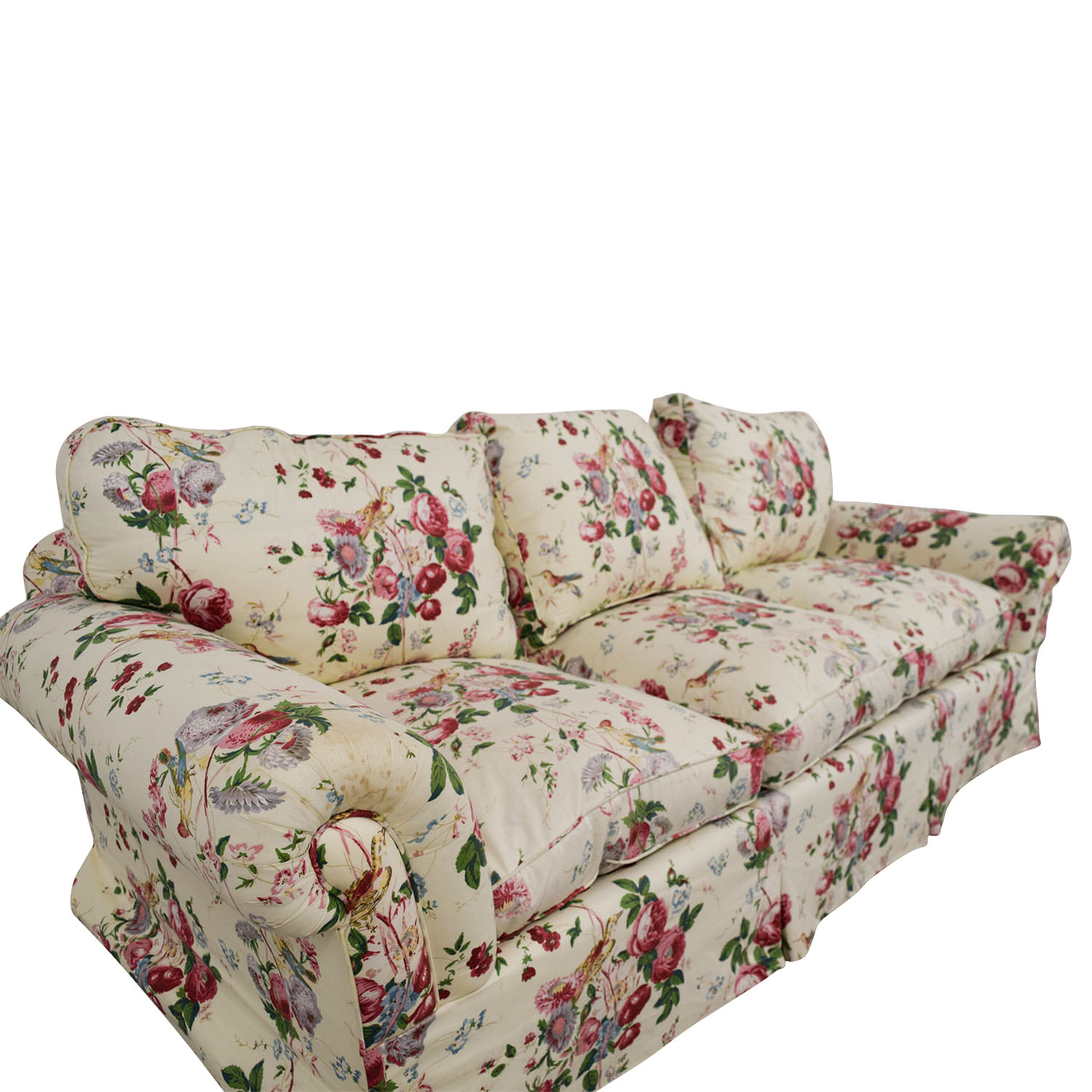 Floral on White Three-Cushion Sofa with Curved Arms second hand