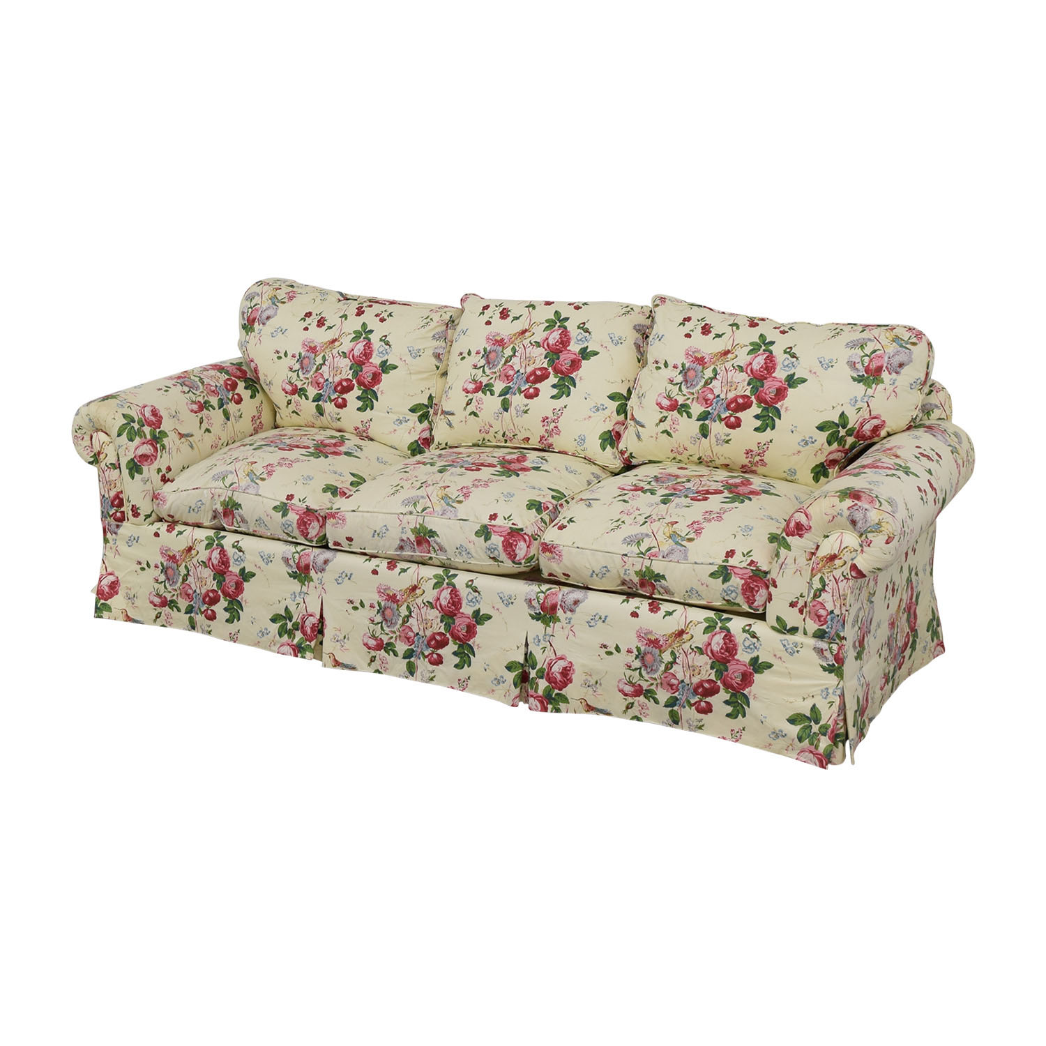 Floral on White Three-Cushion Sofa with Curved Arms dimensions