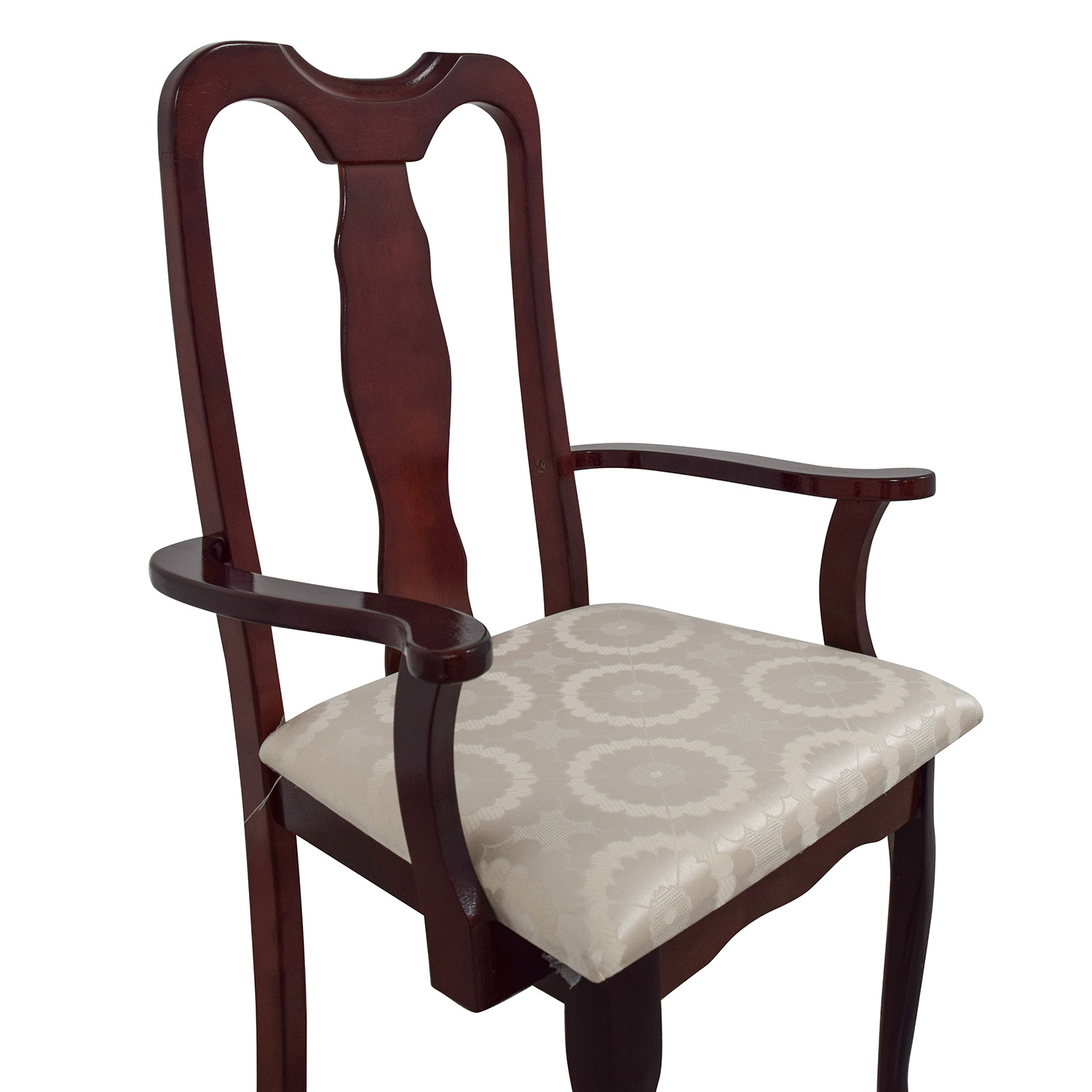 30% OFF Cherry Wood Arm Chair in White Upholstery Chairs