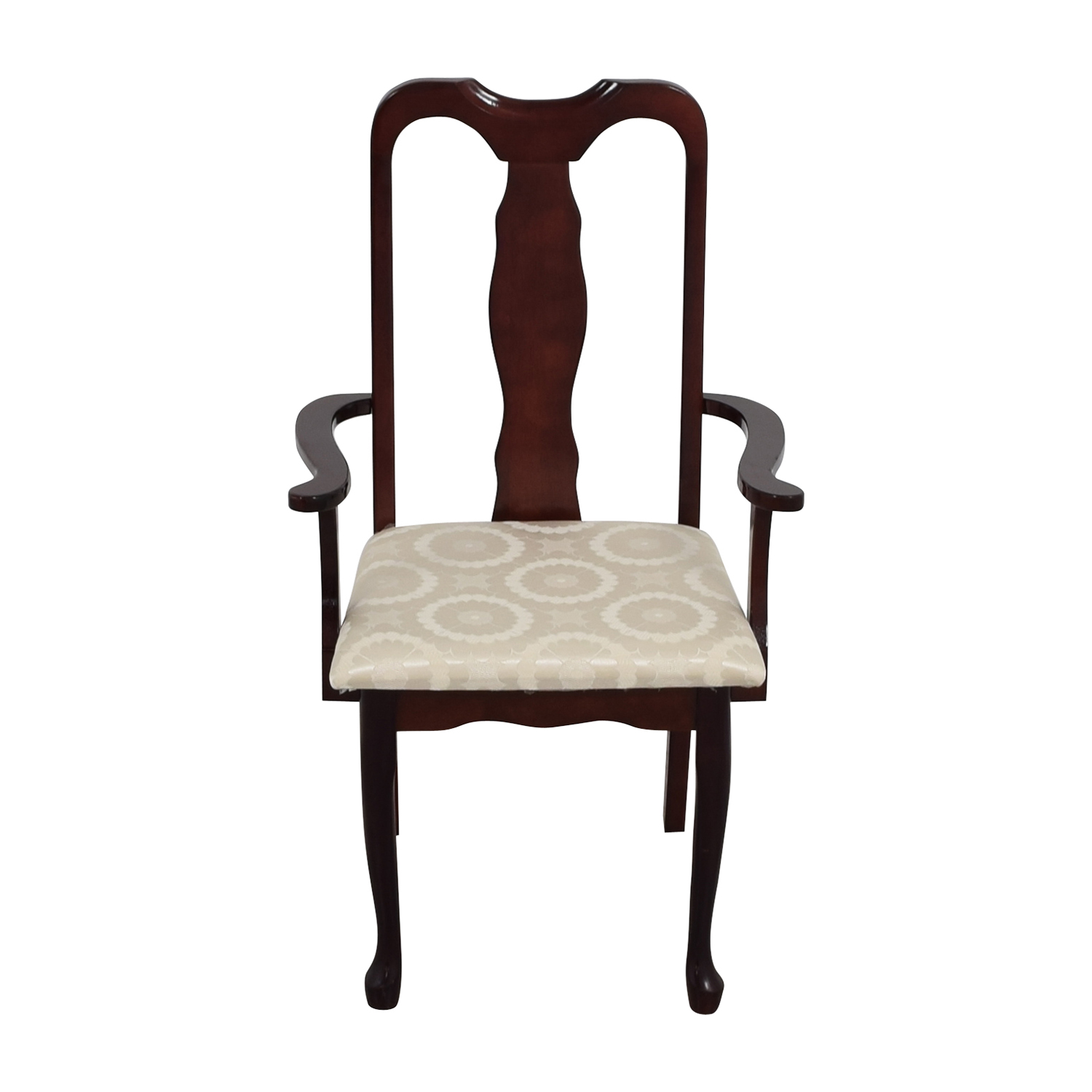 Cherry Wood Arm Chair in White Upholstery Chairs