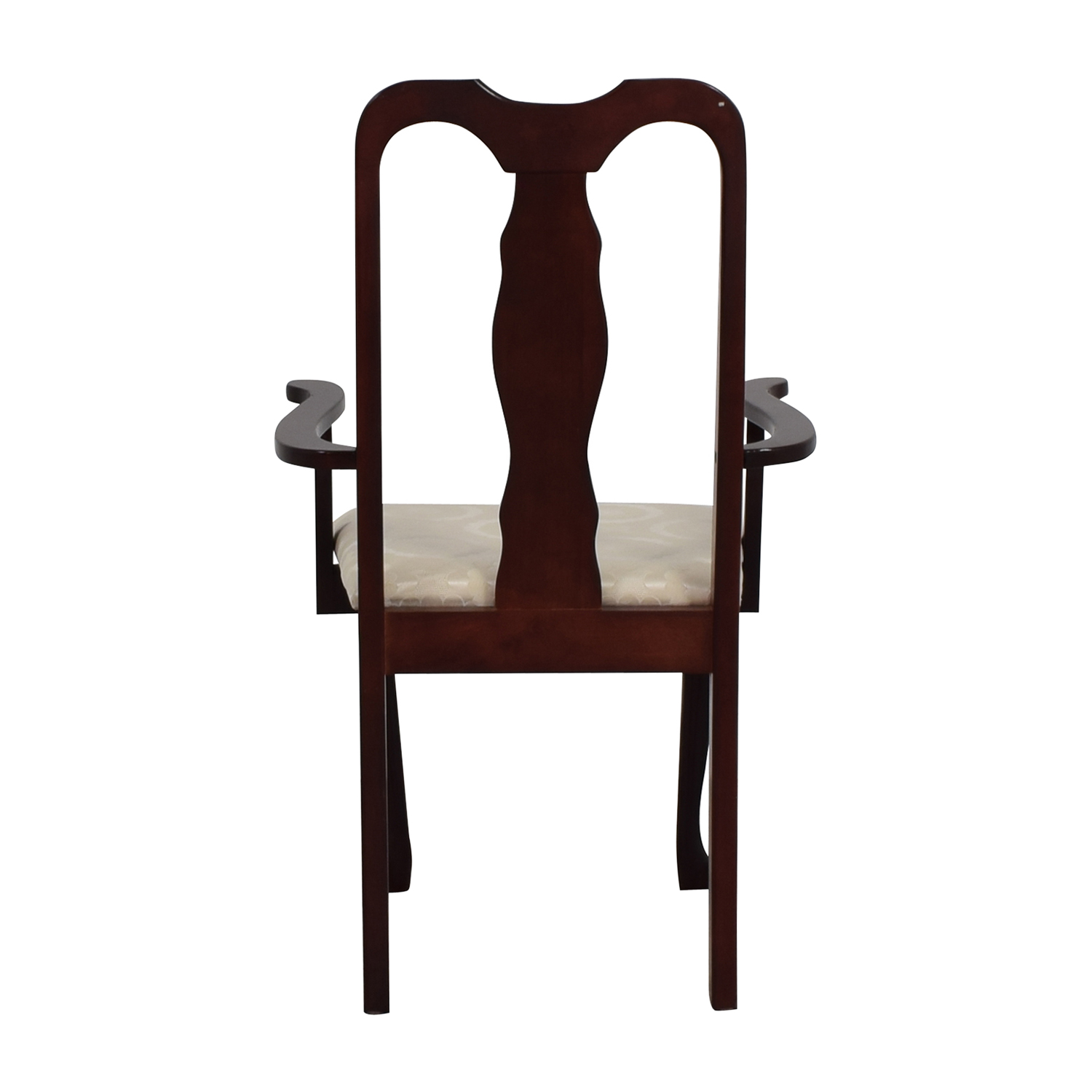 buy Cherry Wood Arm Chair in White Upholstery Accent Chairs