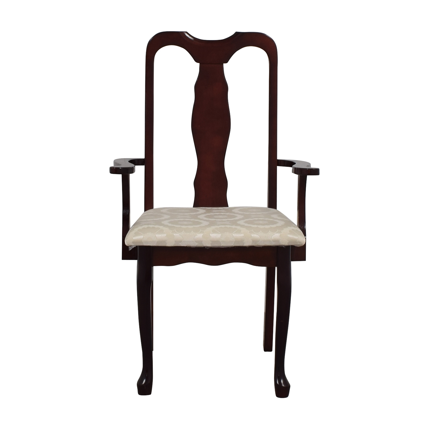 Cherry Wood Arm Chair in White Upholstery nyc
