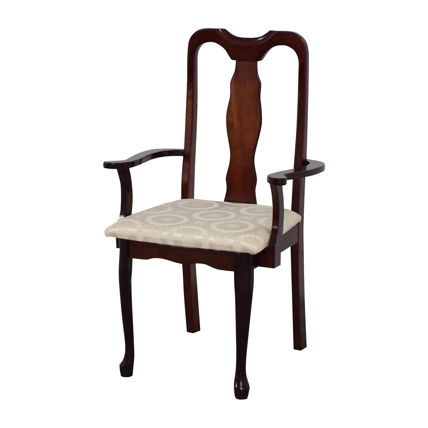 buy Cherry Wood Arm Chair in White Upholstery