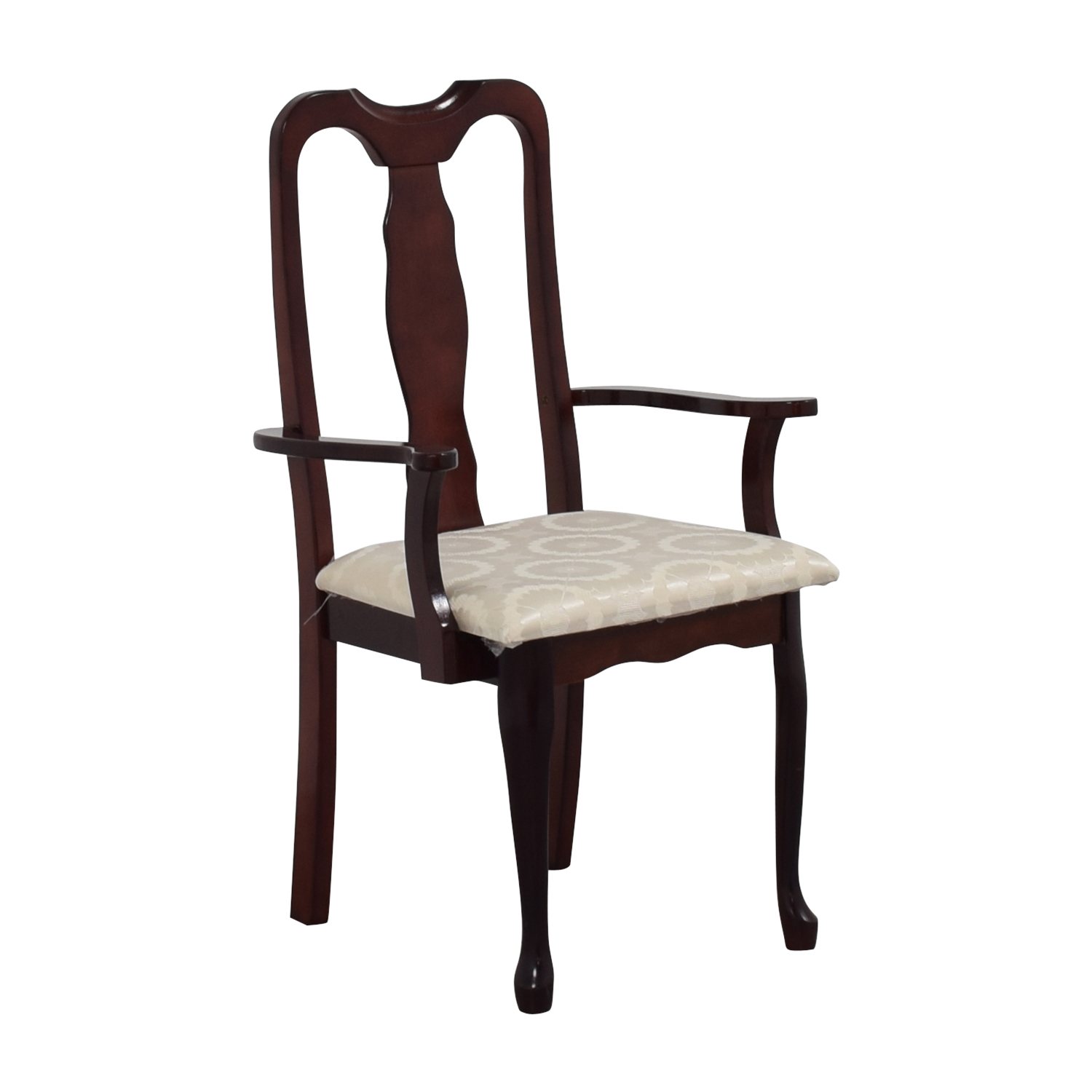 Cherry Wood Arm Chair in White Upholstery BROWN