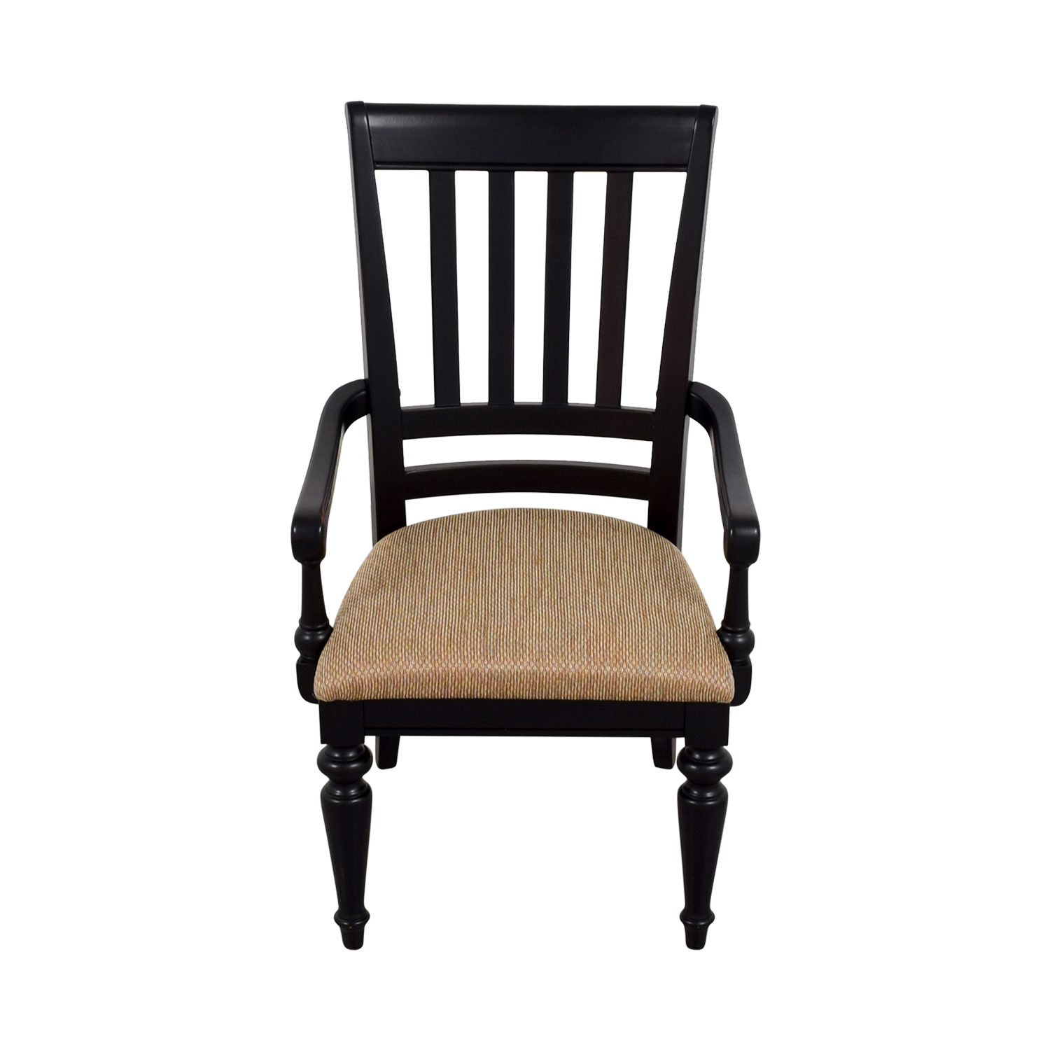 Black Arm Chair with Beige Upholstered Padded Seat used