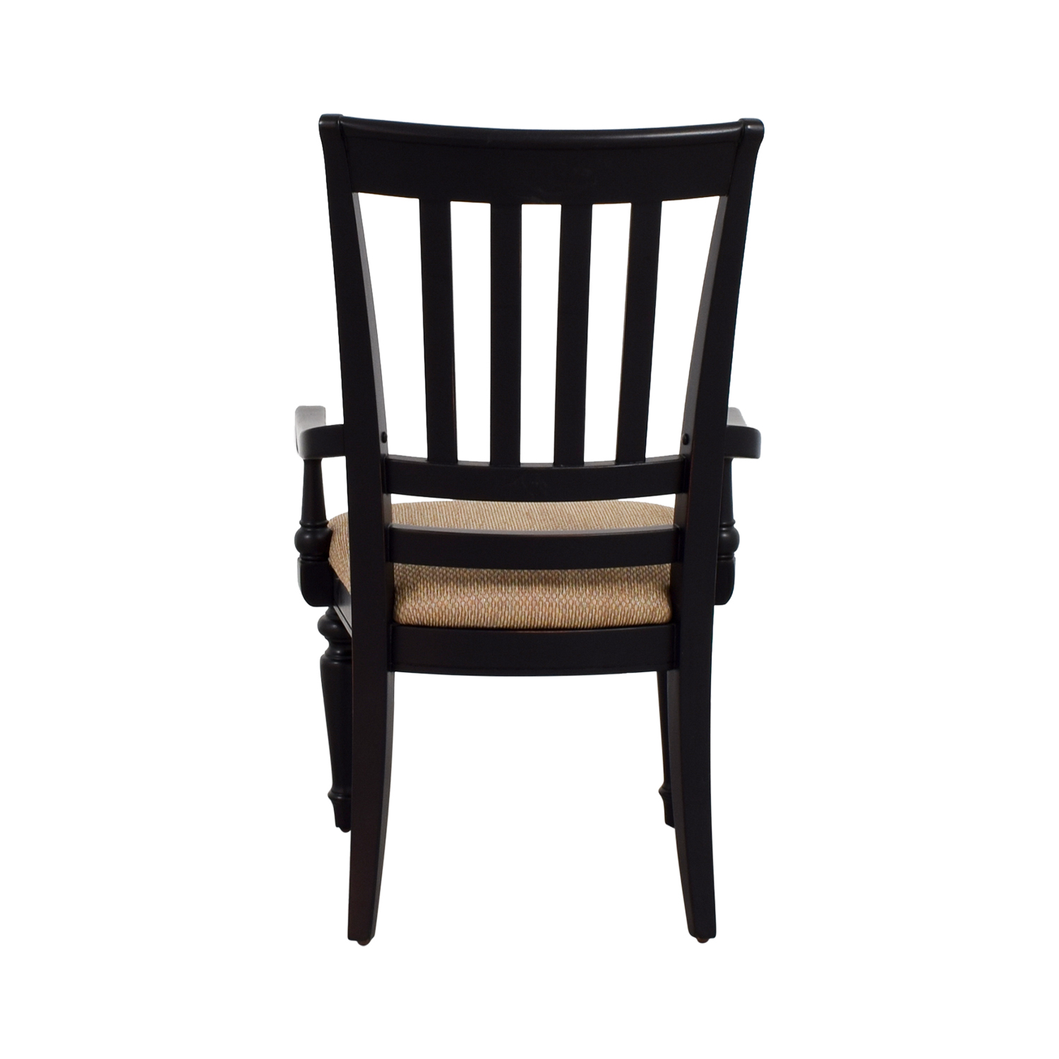 Black Arm Chair with Beige Upholstered Padded Seat sale