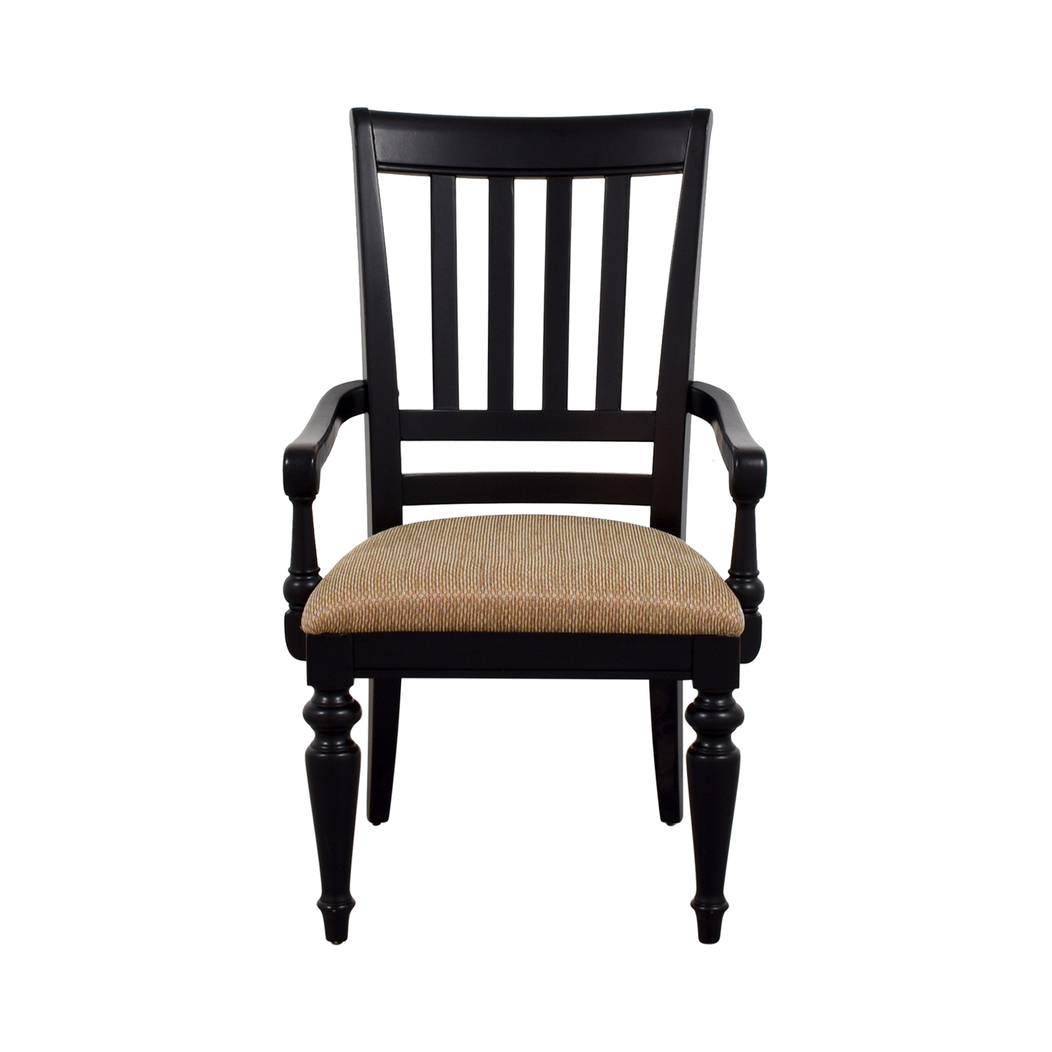 Black Arm Chair with Beige Upholstered Padded Seat