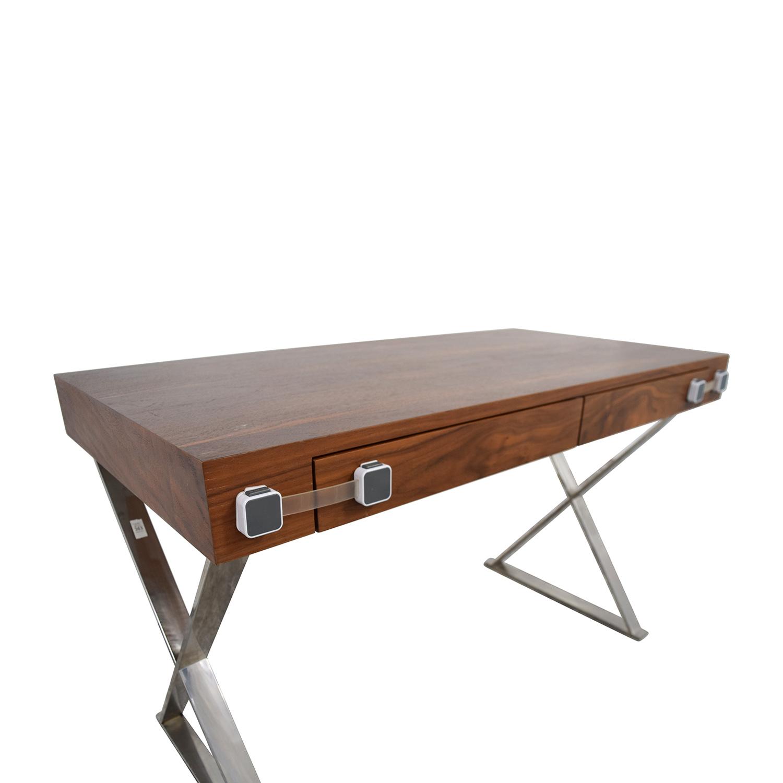 shop Pangea Home Wood and Metal X-Leg Desk Pangea Home Home Office Desks