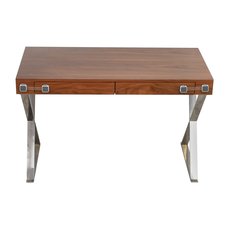 Pangea Home Pangea Home Wood and Metal X-Leg Desk Light Brown