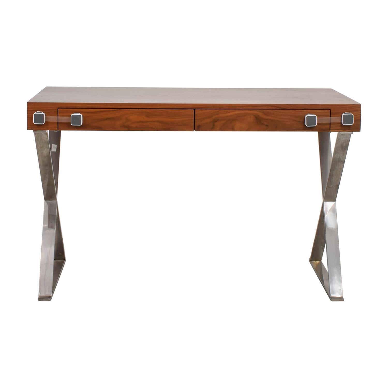 shop Pangea Home Wood and Metal X-Leg Desk Pangea Home Tables