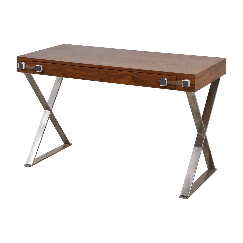 Pangea Home Pangea Home Wood and Metal X-Leg Desk Home Office Desks