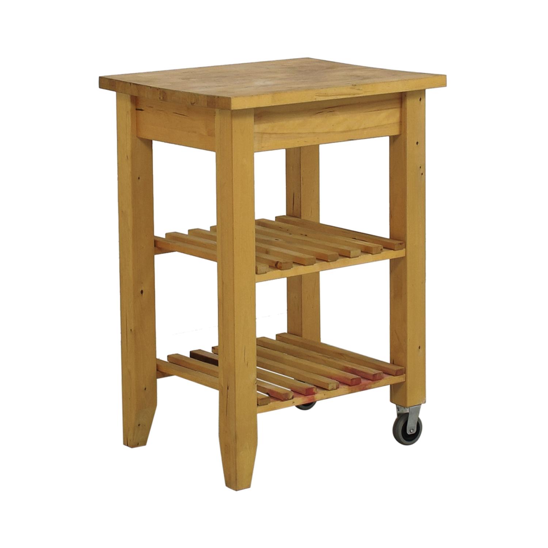 66% OFF - IKEA IKEA Butcher Block Kitchen Cart with Castors / Tables