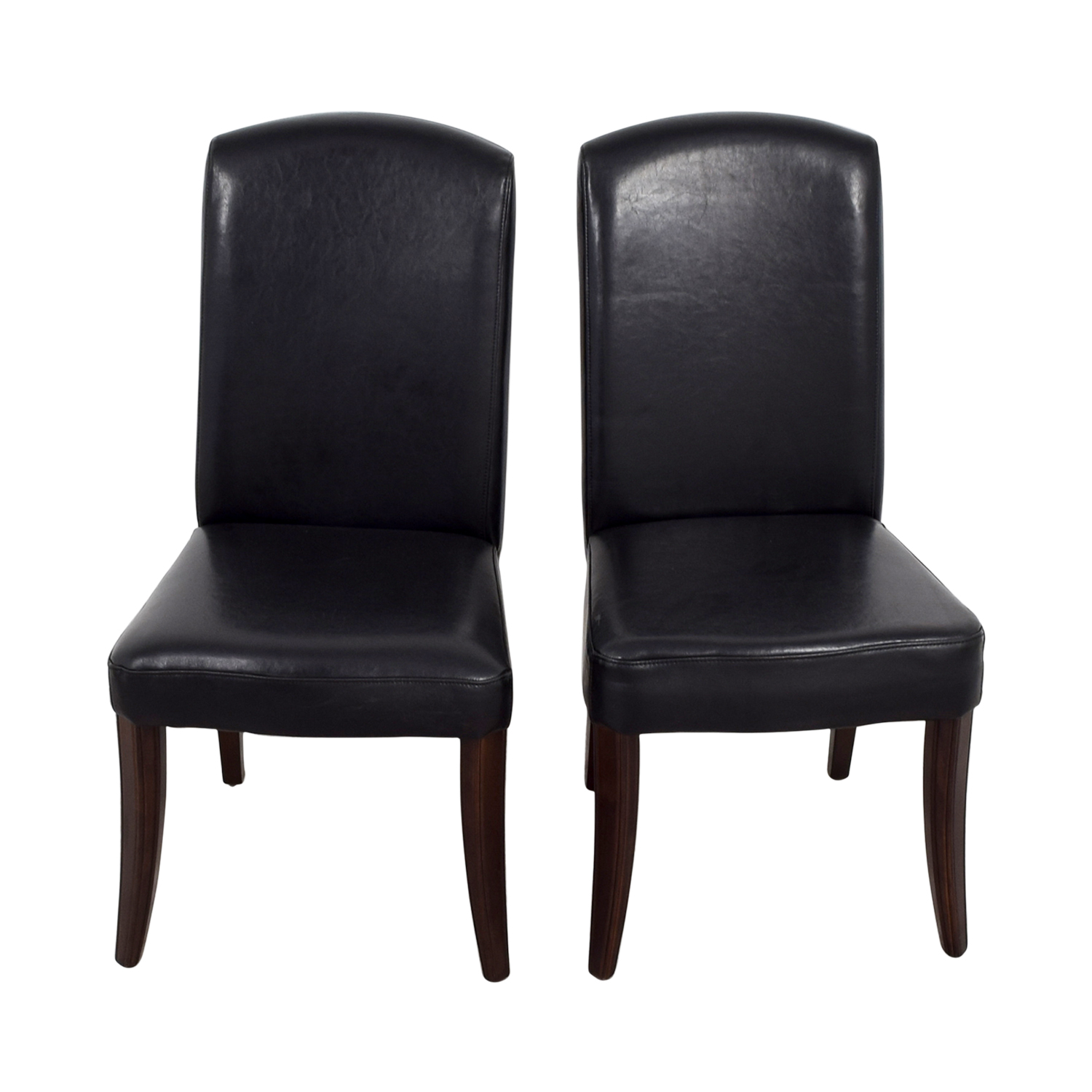 Black Padded Leatherette High Back Chairs Accent Chairs