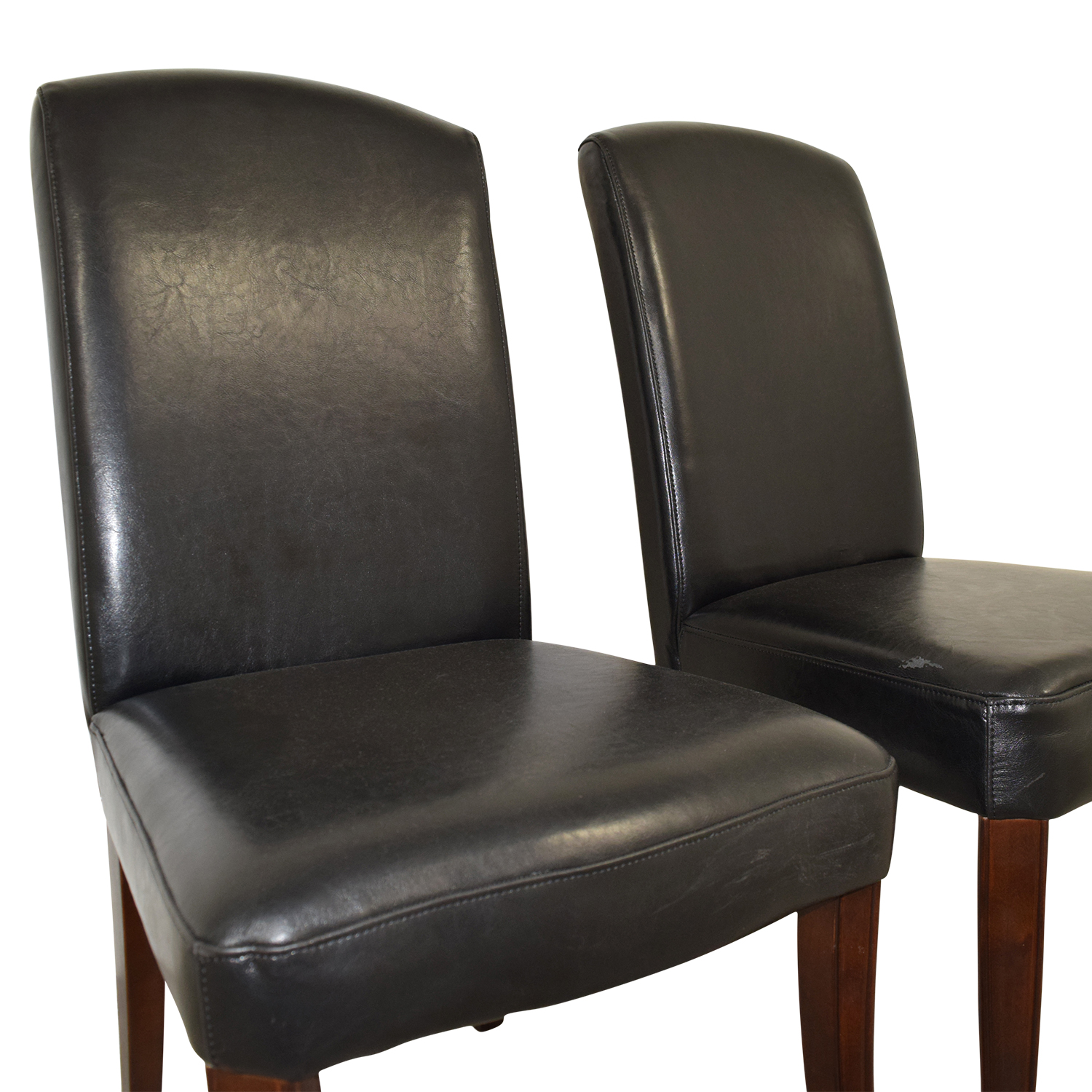 Black Padded Leatherette High Back Chairs on sale