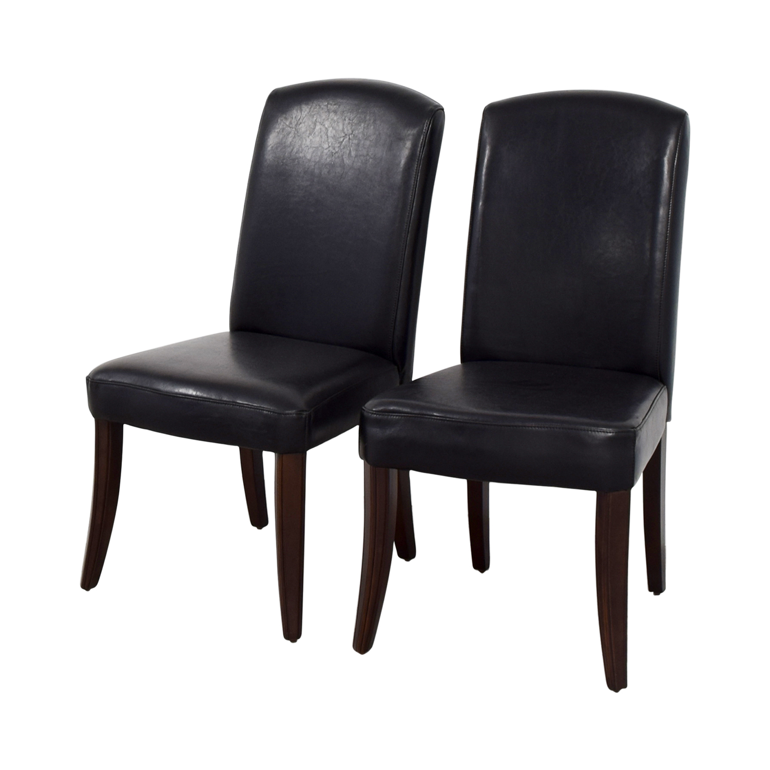 Black Padded Leatherette High Back Chairs nyc