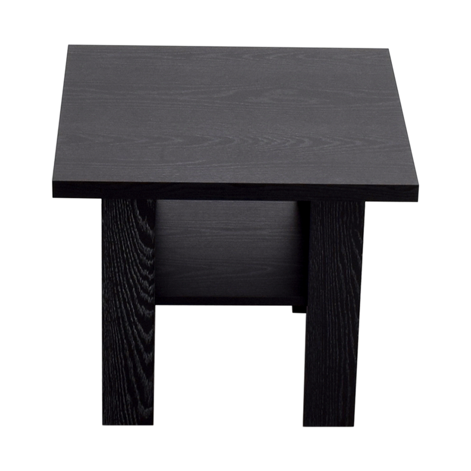 Black Square Side Table with Shelf on sale