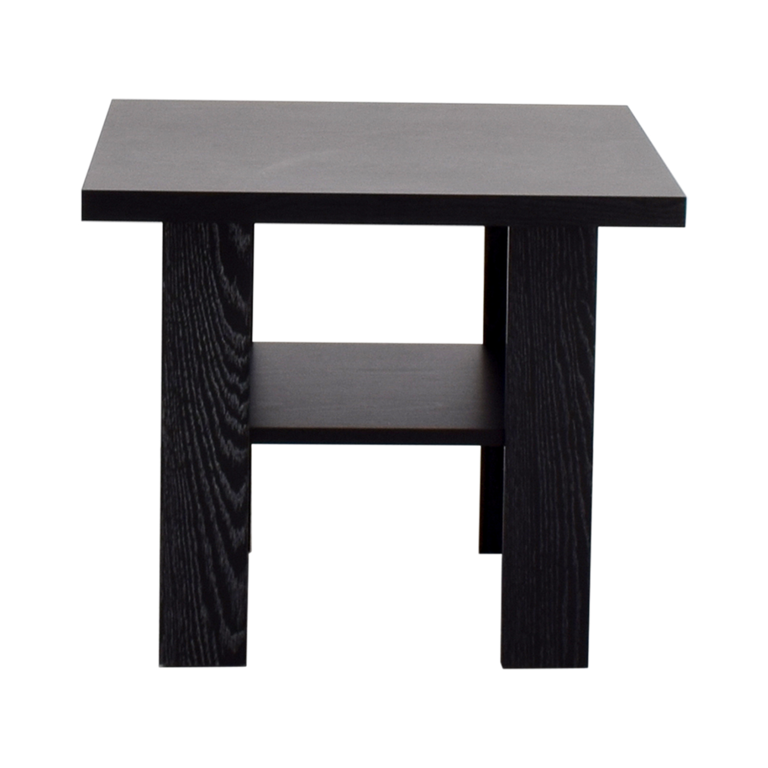 Black Square Side Table with Shelf second hand