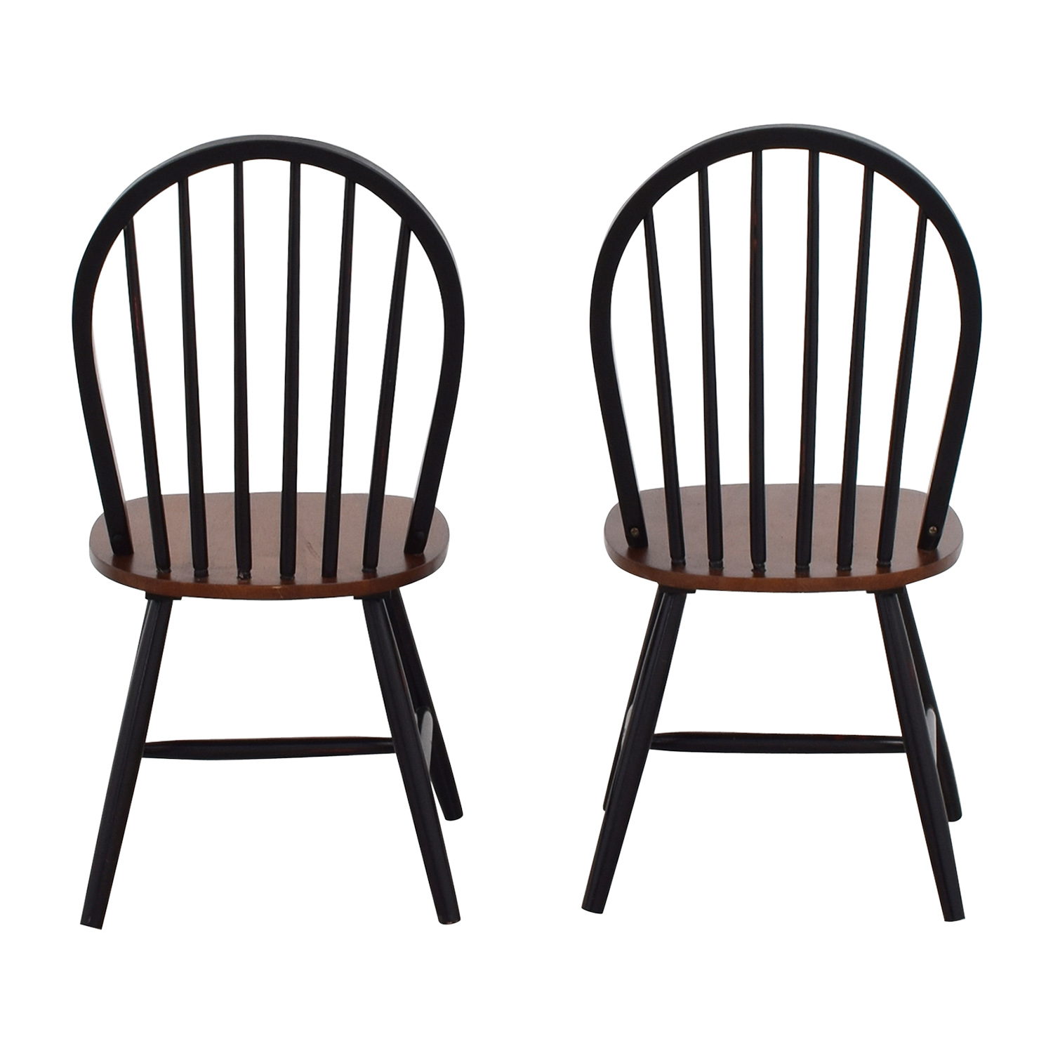 Two-Tone Wood Dining Chairs Black / Brown