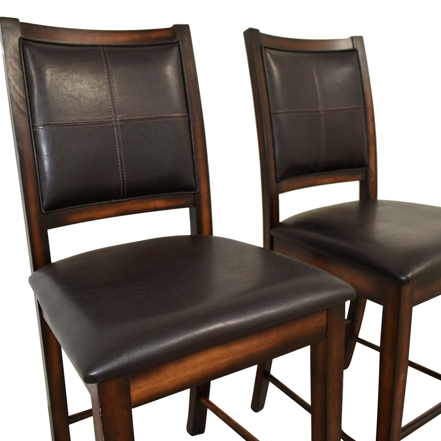 90 Off Brown Leather Counter Stools Chairs
