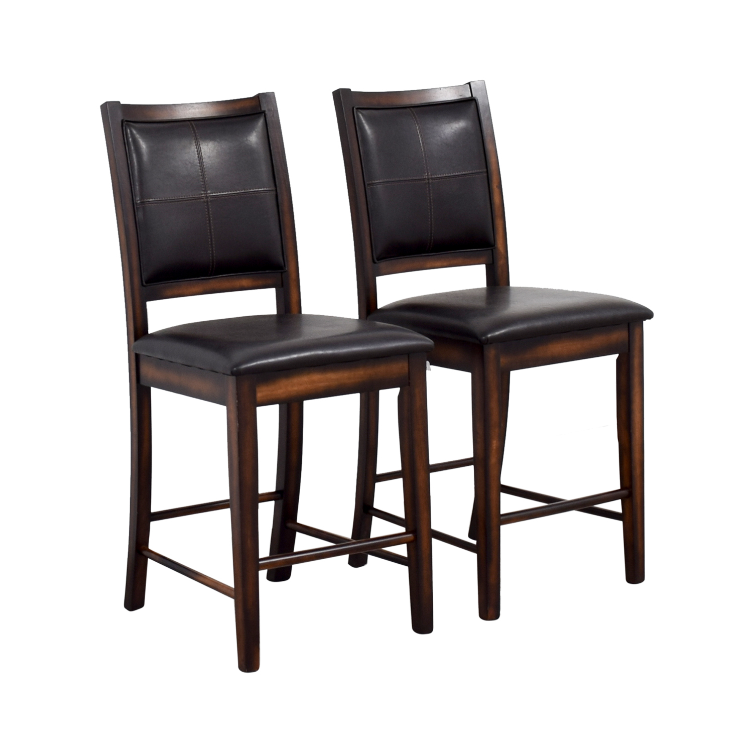 90 off brown leather counter stools chairs. Black Bedroom Furniture Sets. Home Design Ideas