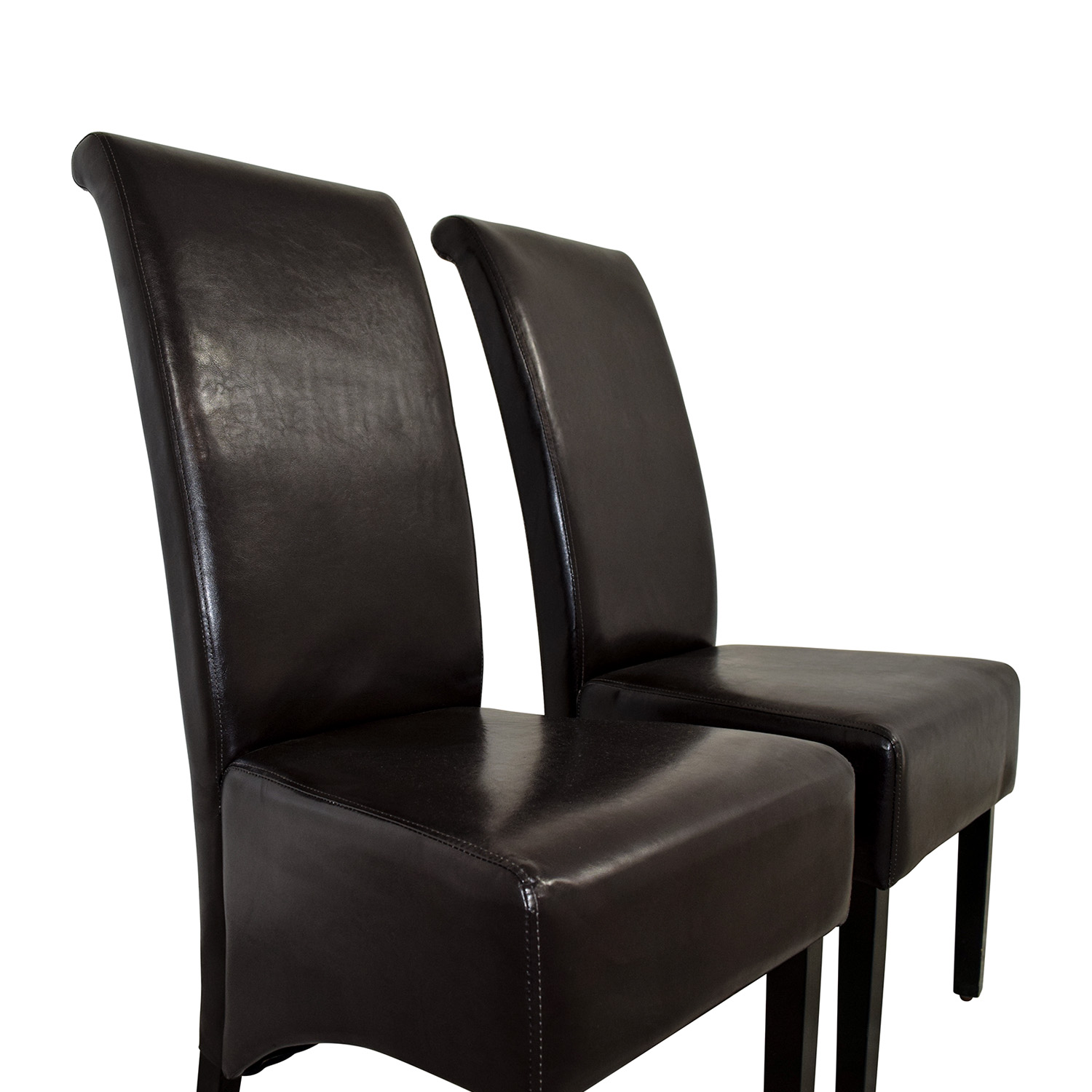 Padded Brown Leatherette High Back Dining Chairs