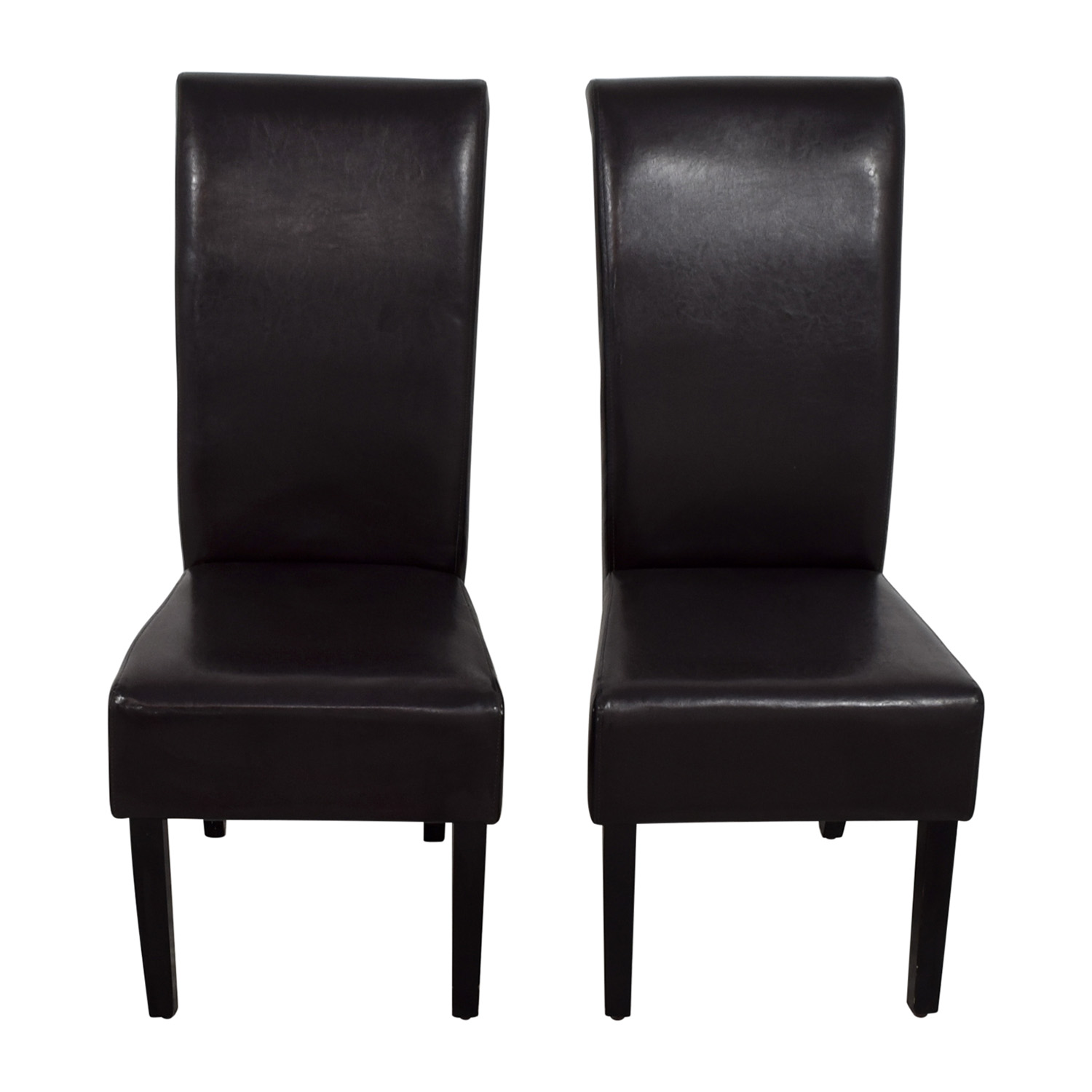 shop Padded Brown Leatherette High Back Dining Chairs Accent Chairs