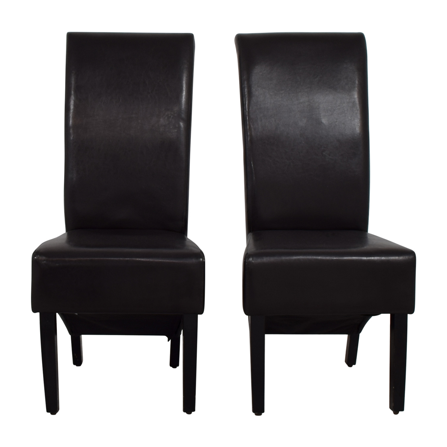 Padded Brown Leatherette High Back Dining Chairs Dark Chocolate