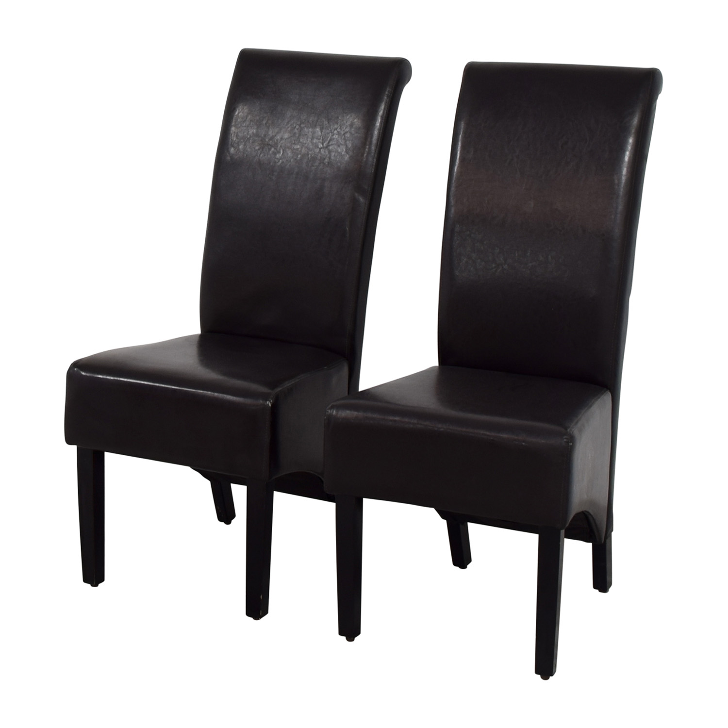 Padded Brown Leatherette High Back Dining Chairs nyc