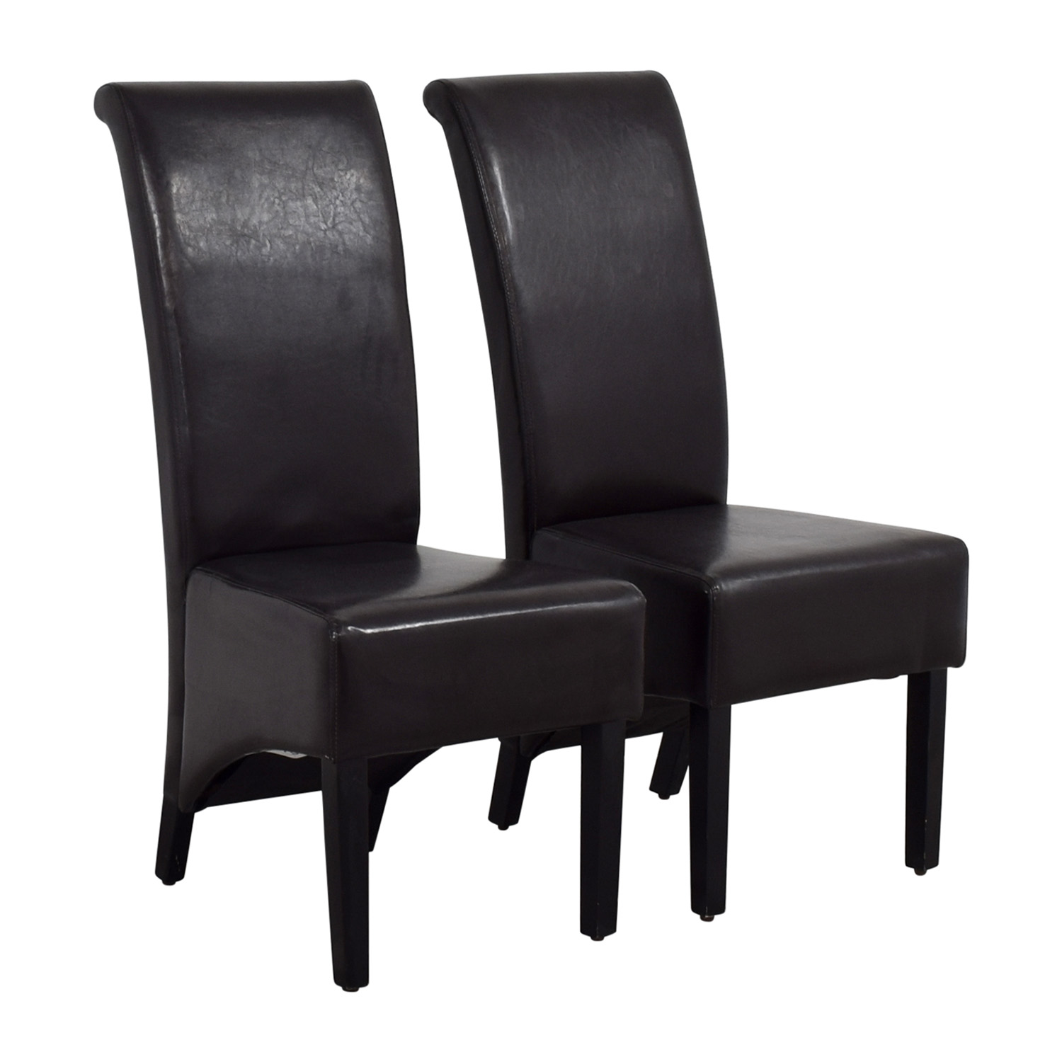 Perfect 90% OFF - Padded Brown Leatherette High Back Dining Chairs / Chairs XT48