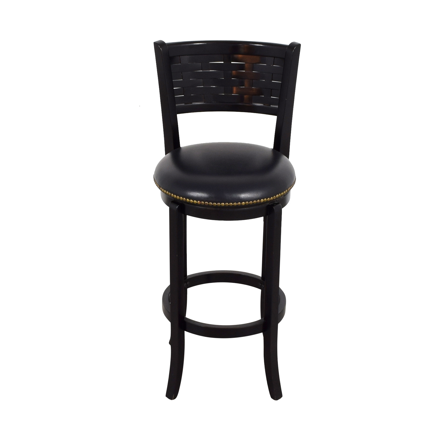 90 Off Black Leather With Nailhead Swivel Bar Stool