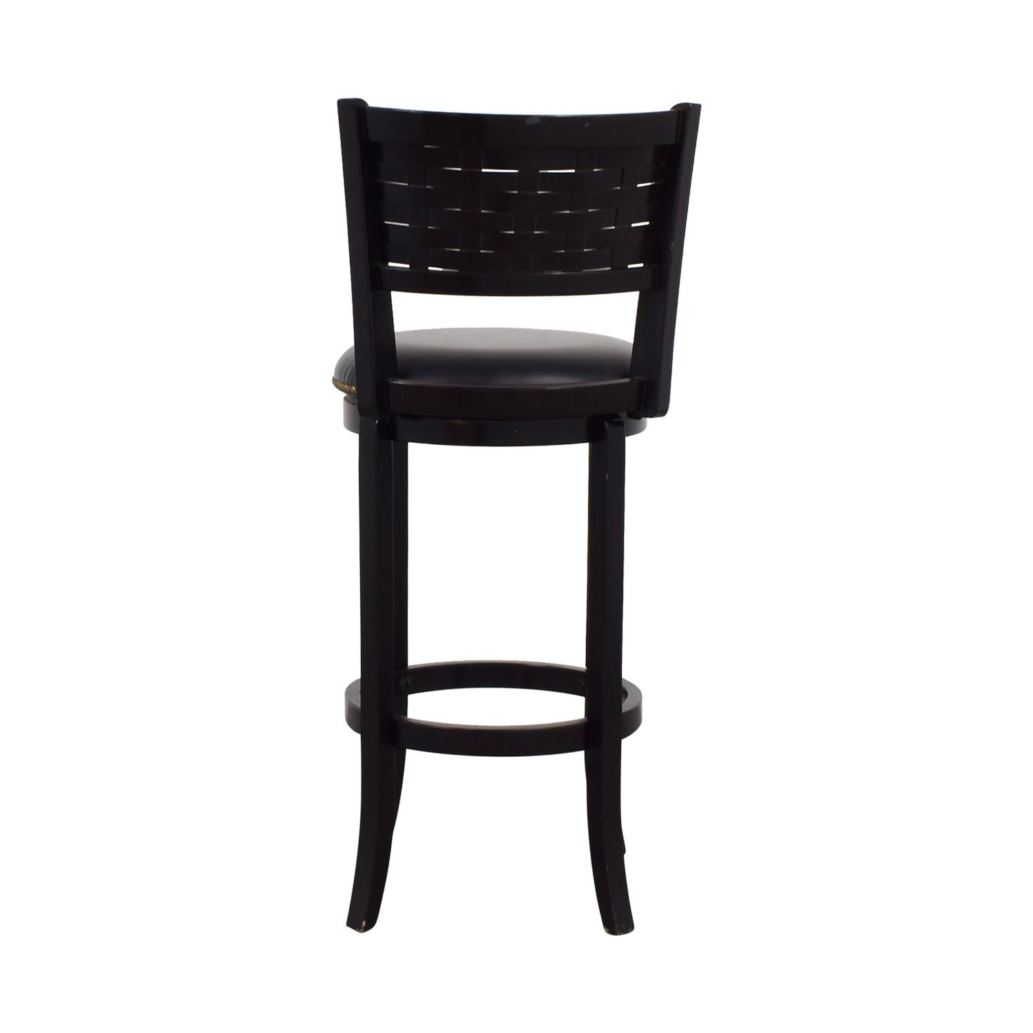 Black Leather with Nailhead Swivel Bar Stool on sale