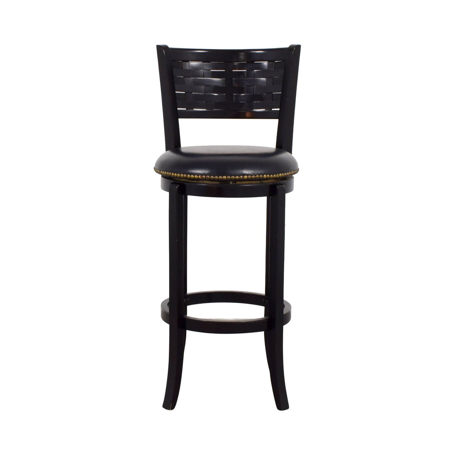 buy Black Leather with Nailhead Swivel Bar Stool Chairs