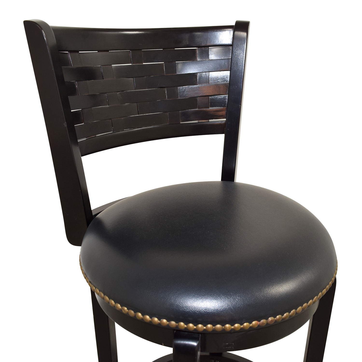 shop Black Leather with Nailhead Swivel Bar Stool