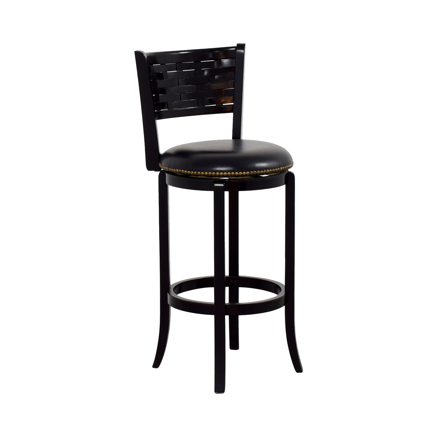 Black Leather with Nailhead Swivel Bar Stool second hand