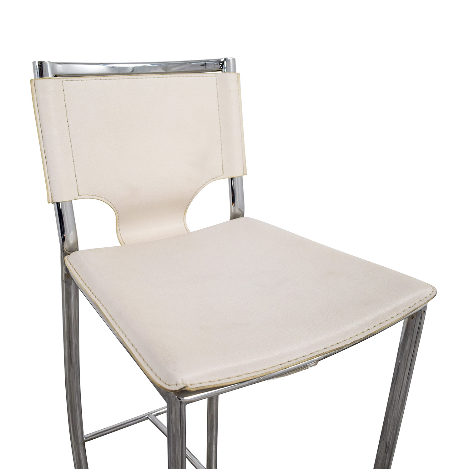 shop White Leatherette and Chrome Bar Chair Accent Chairs