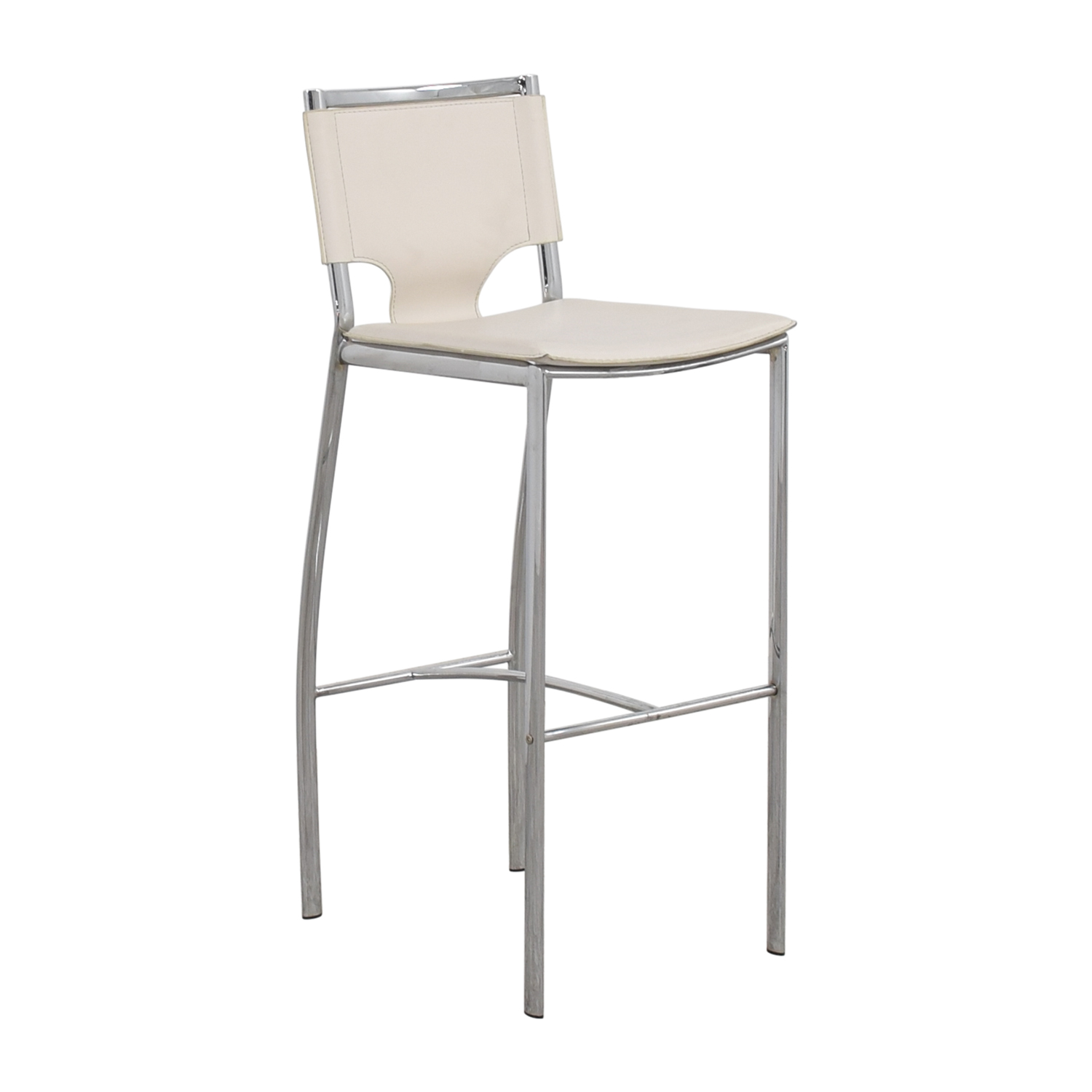 buy White Leatherette and Chrome Bar Chair Chairs