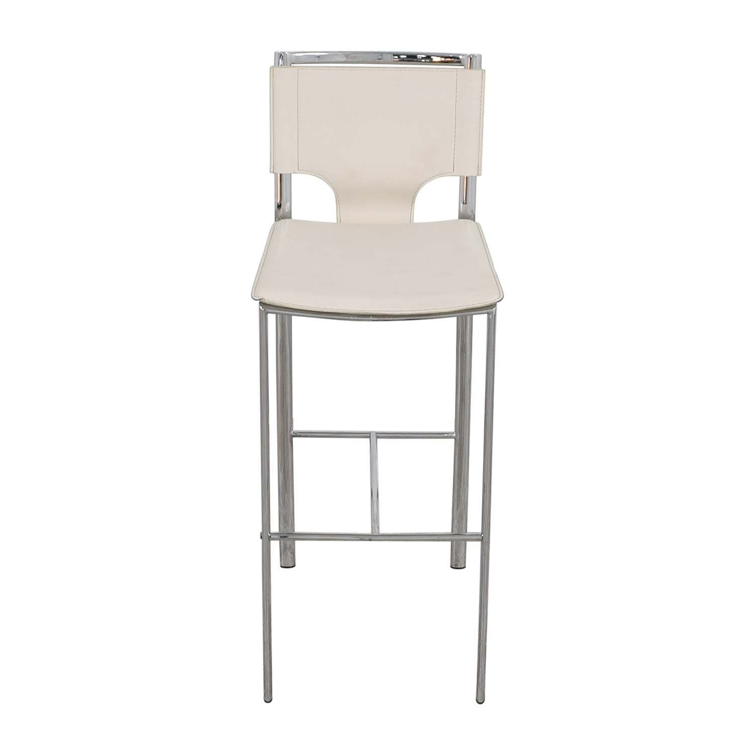 41% OFF White Leatherette and Chrome Bar Chair Chairs