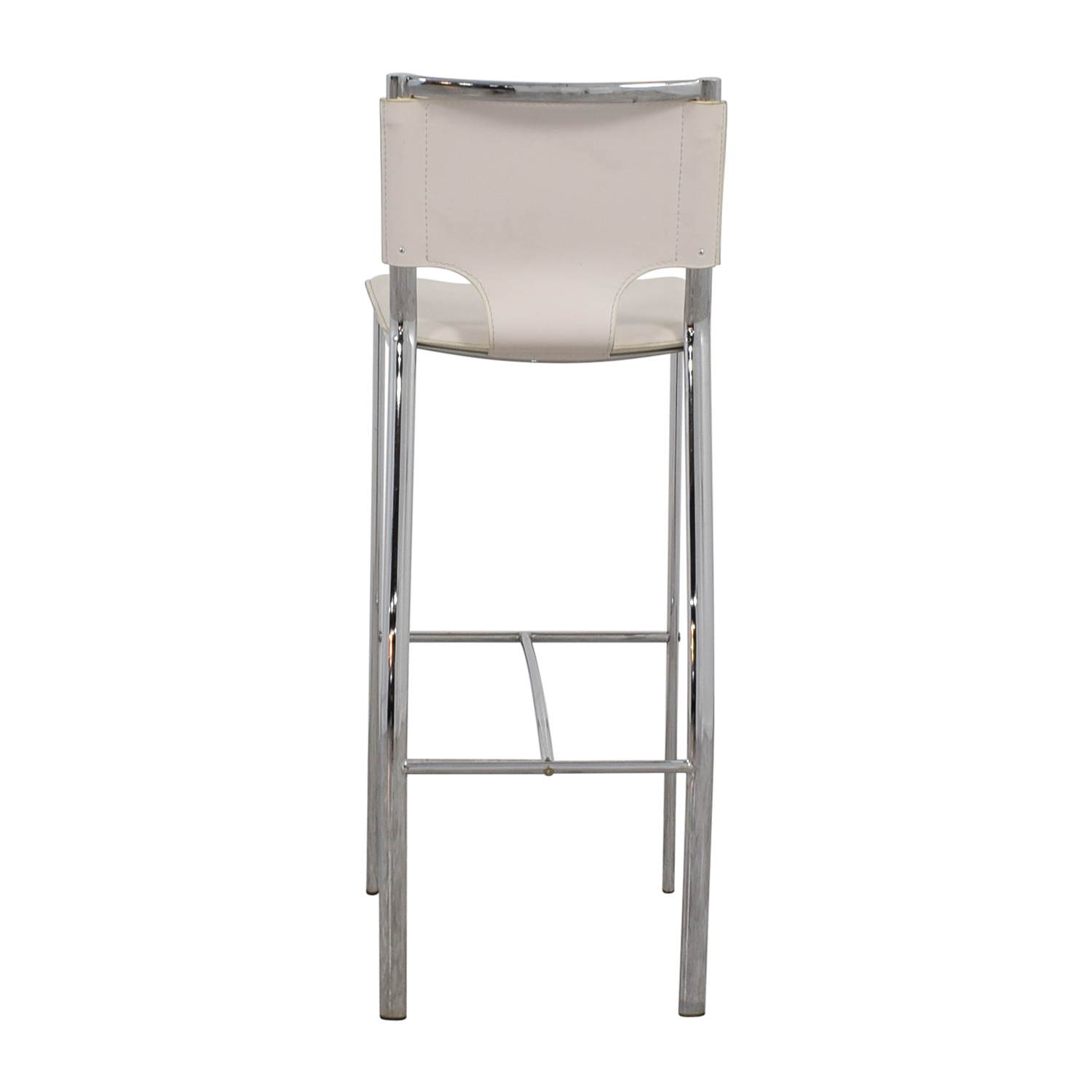 White Leatherette and Chrome Bar Chair used