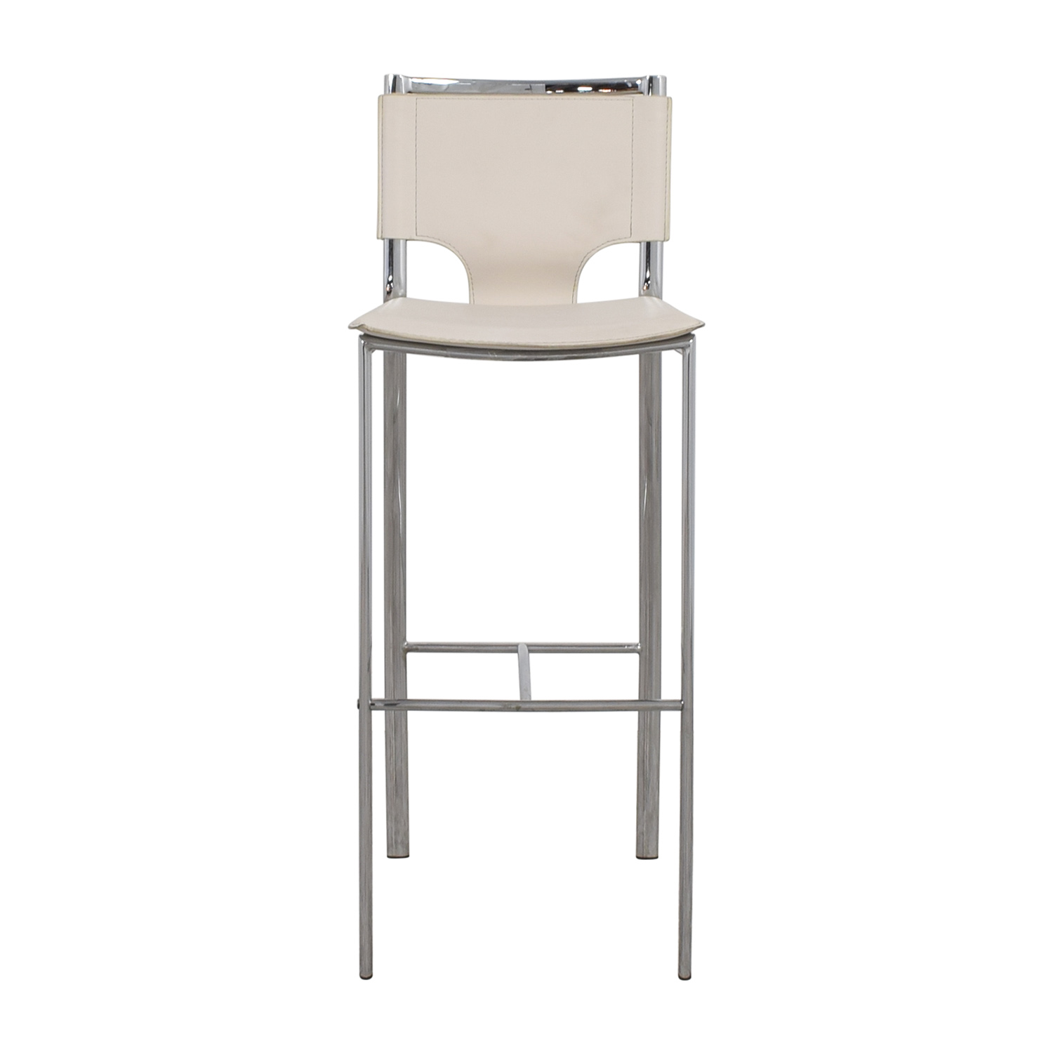 shop White Leatherette and Chrome Bar Chair