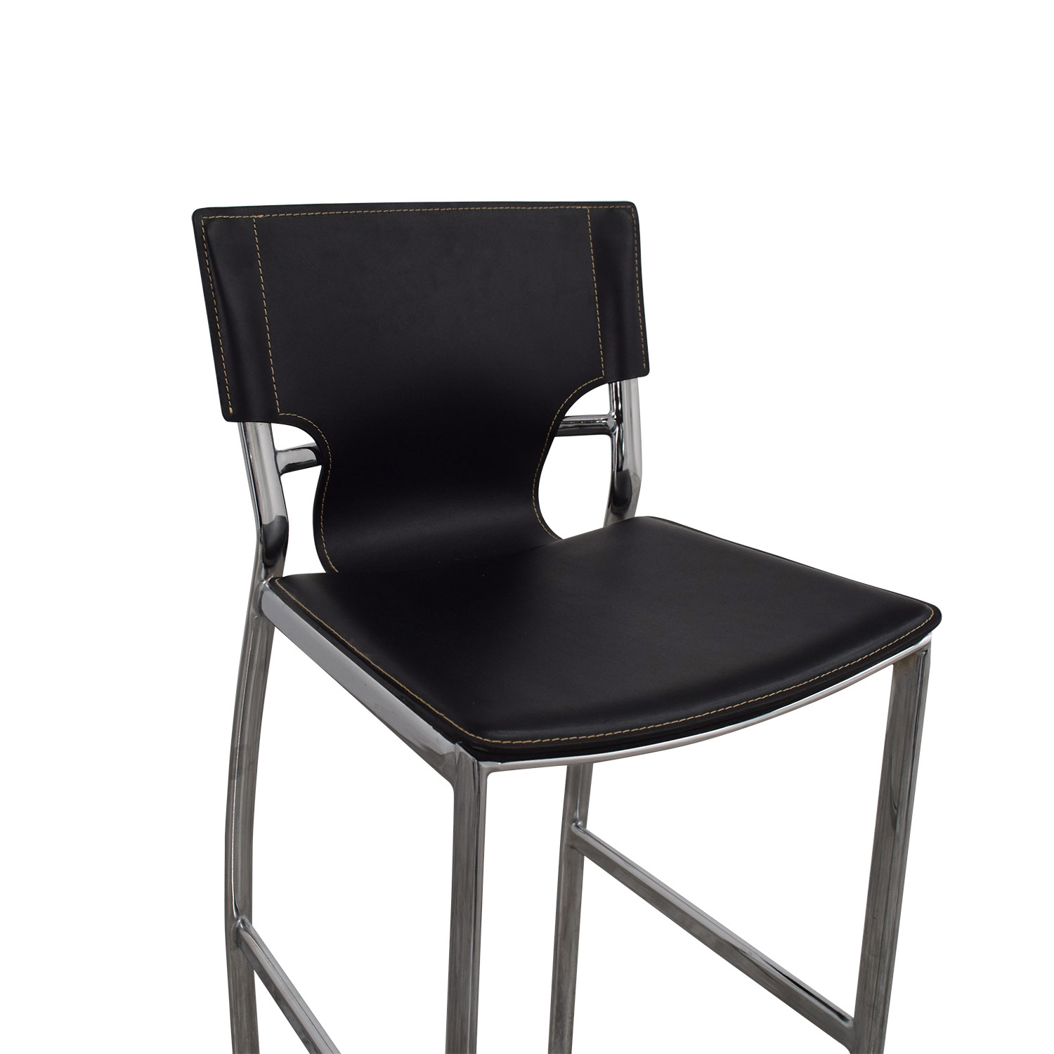 shop Modern Black Leatherette and Chrome Bar Chair