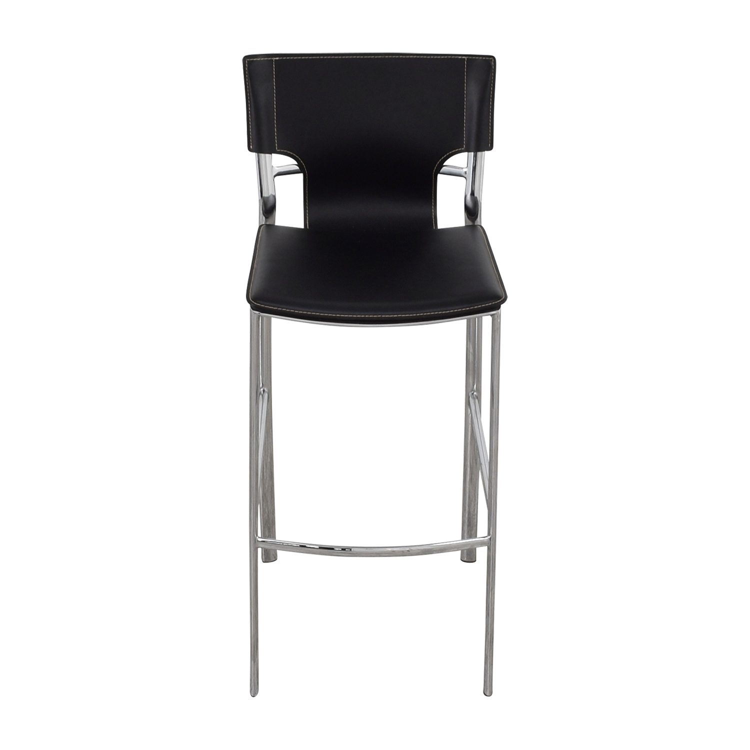shop Modern Black Leatherette and Chrome Bar Chair Stools