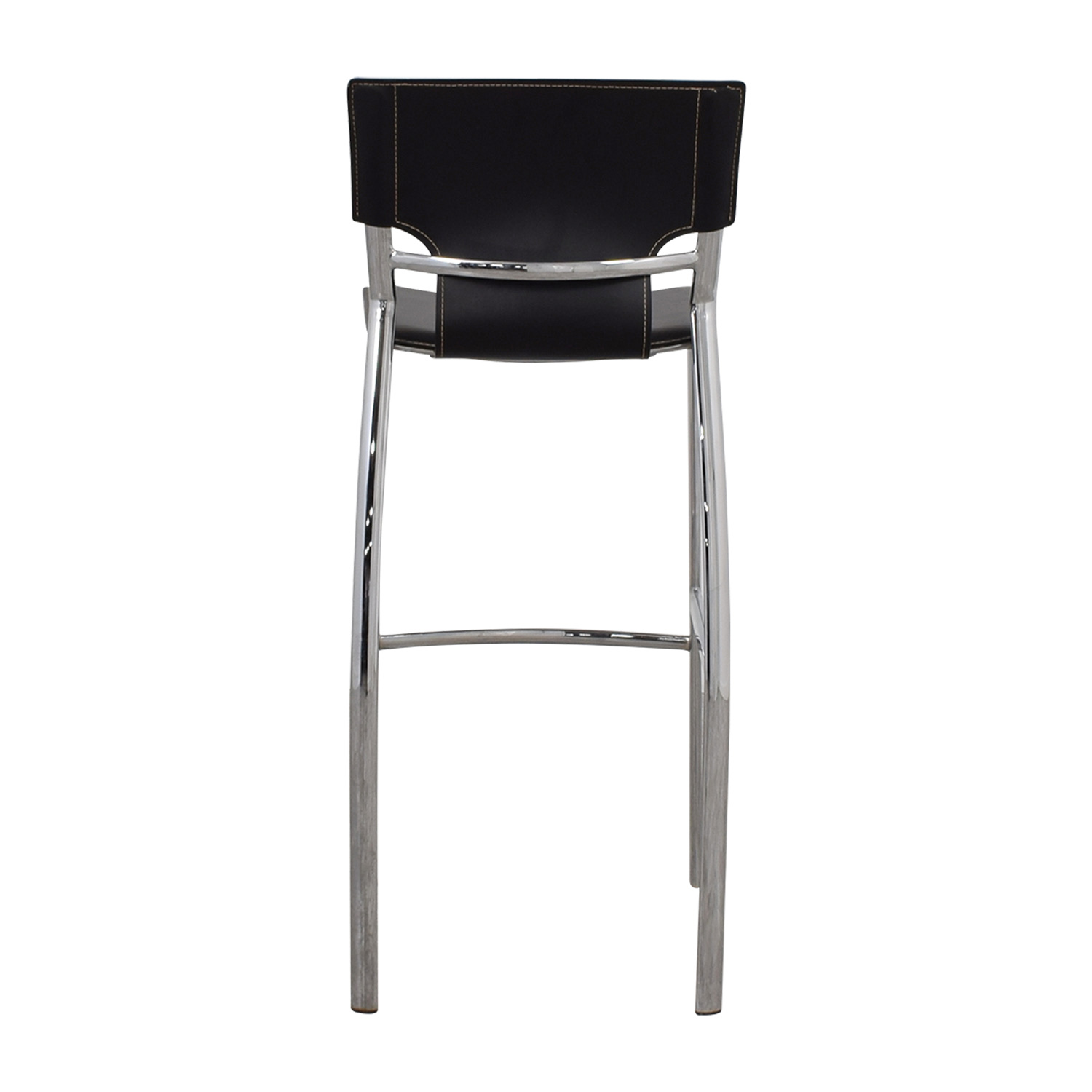 buy Modern Black Leatherette and Chrome Bar Chair Chairs