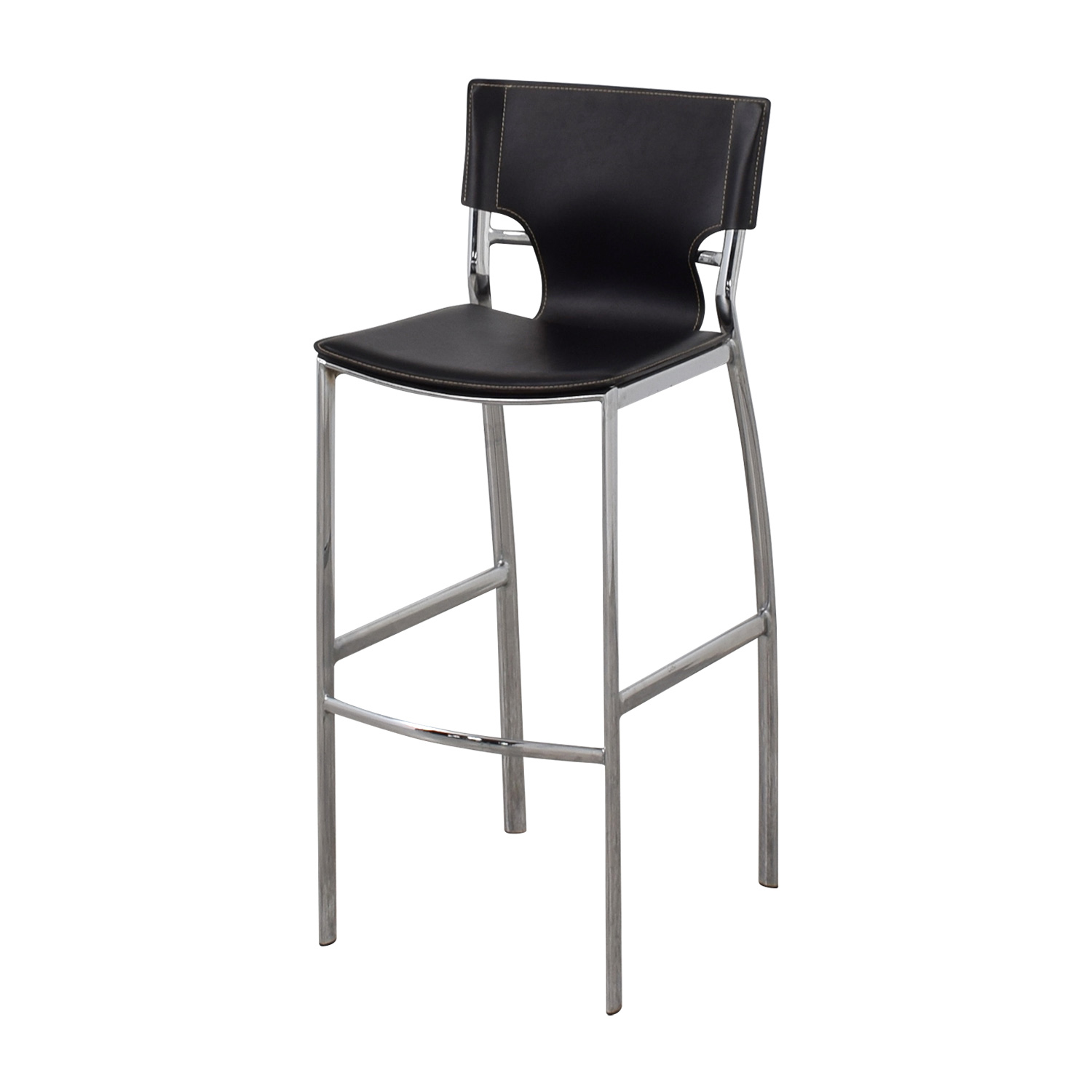 Modern Black Leatherette and Chrome Bar Chair sale