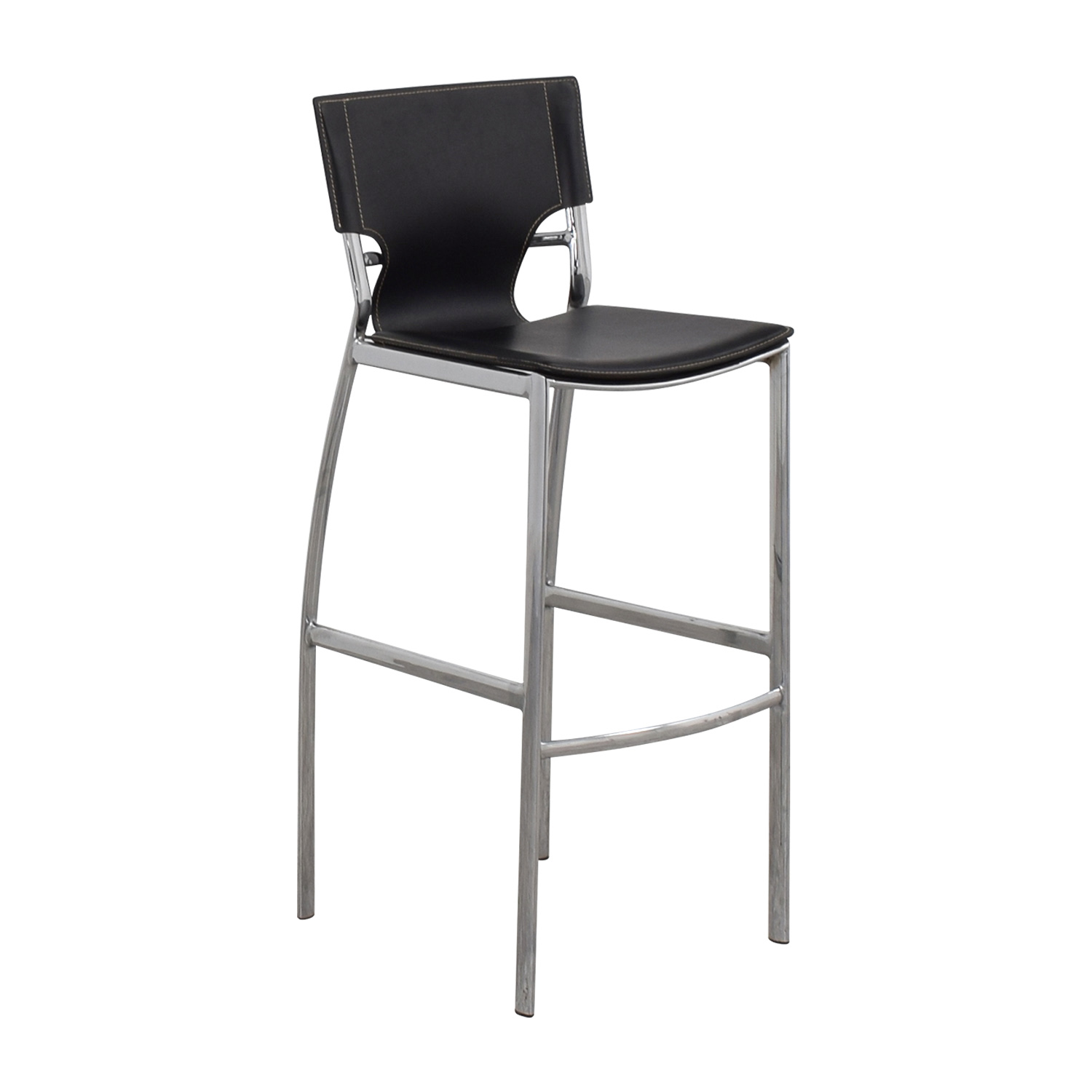 Modern Black Leatherette and Chrome Bar Chair second hand