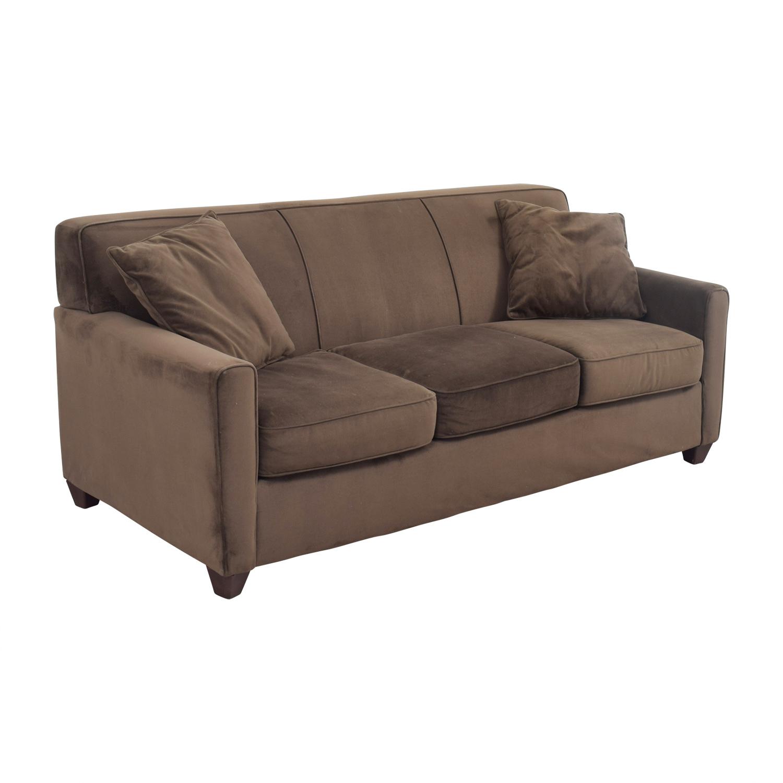 Brown Microfiber Three Cushion Sofa brown